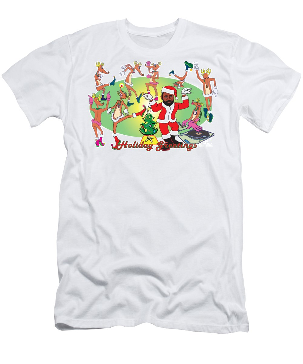 Holiday Men's T-Shirt (Athletic Fit) featuring the digital art Santa Charles Jamming - Tis The Season - 2008 by Charles M Williams