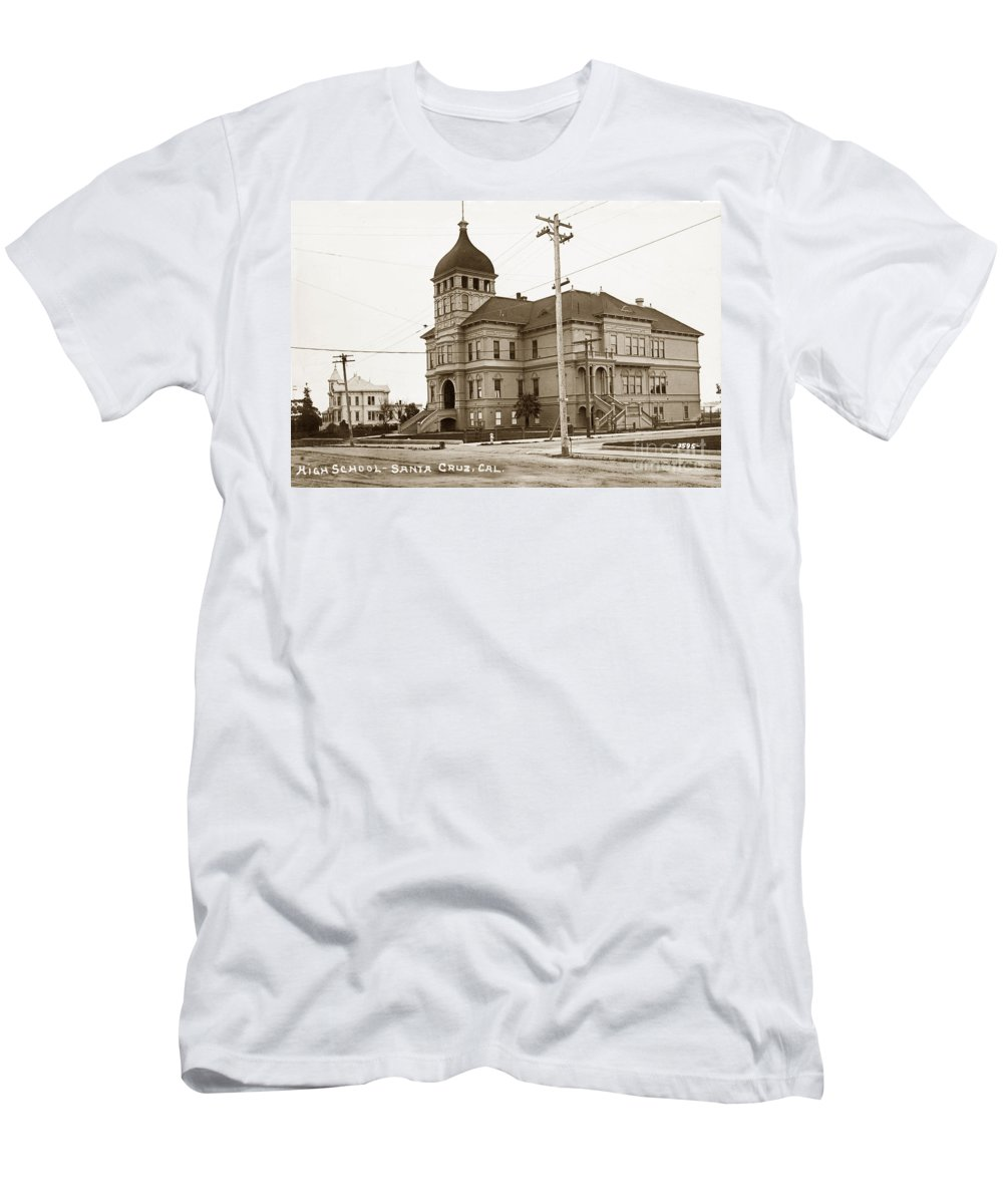 Santa Cruz Men's T-Shirt (Athletic Fit) featuring the photograph Santa Cruz High School On Walnut Street. Circa 1910 Photo By Besaw by California Views Archives Mr Pat Hathaway Archives