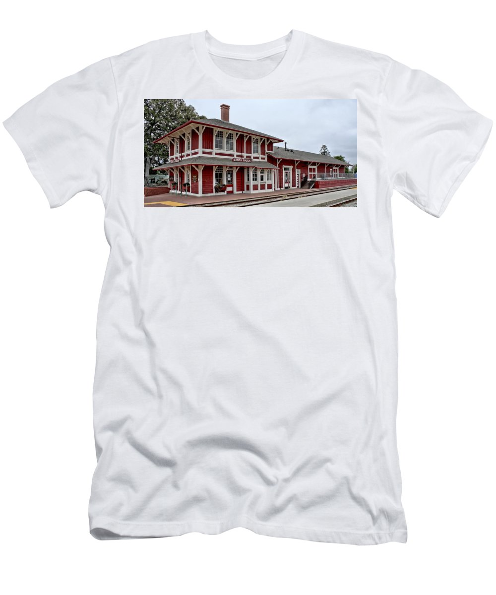 History Men's T-Shirt (Athletic Fit) featuring the photograph Santa Paula Station by Michael Gordon