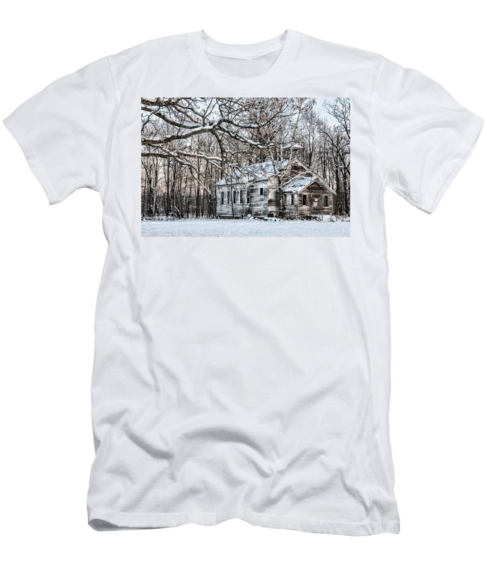 Old School House Men's T-Shirt (Athletic Fit) featuring the photograph School Out Forever by Paul Freidlund