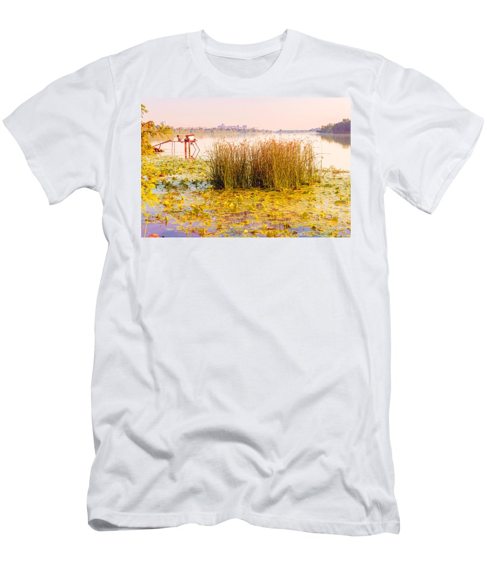 Bullrush Men's T-Shirt (Athletic Fit) featuring the photograph Scirpus In The River by Alain De Maximy