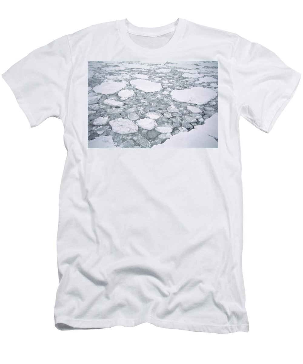 Feb0514 Men's T-Shirt (Athletic Fit) featuring the photograph Sea Ice Pancake Ice Forming Antarctica by Tui De Roy