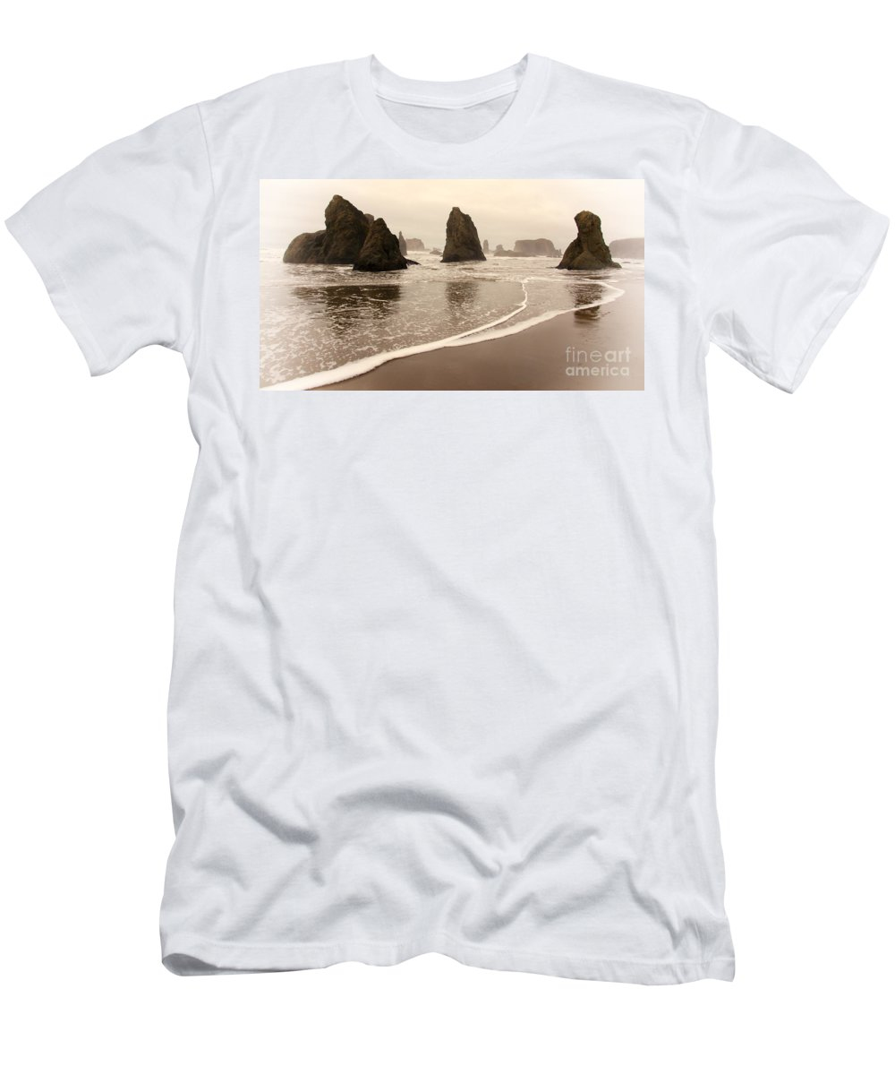 Sunset Men's T-Shirt (Athletic Fit) featuring the photograph Sea Stacks At Bandon 2 by Vivian Christopher