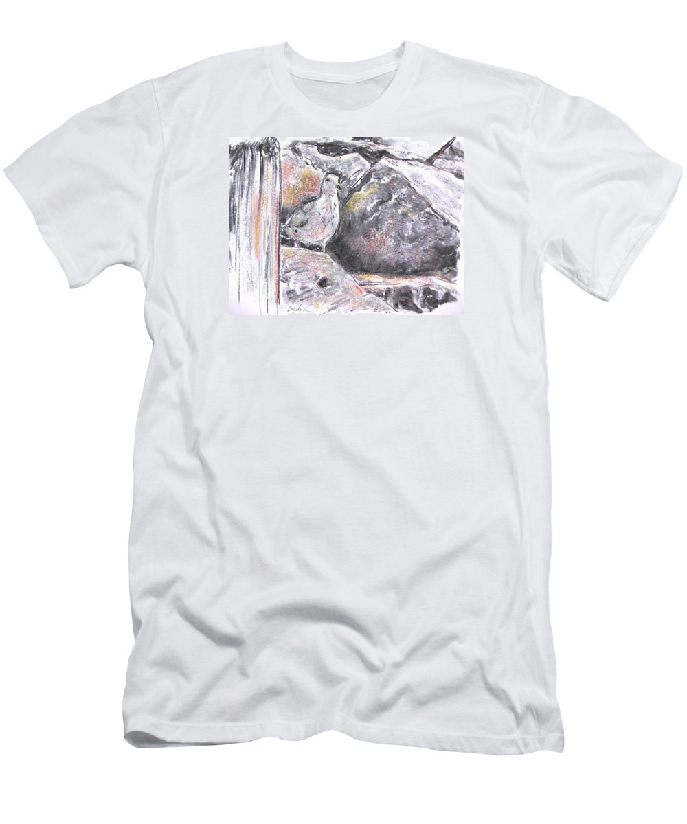Bird Men's T-Shirt (Athletic Fit) featuring the drawing Seagull Among The Rocks by Indra Singh