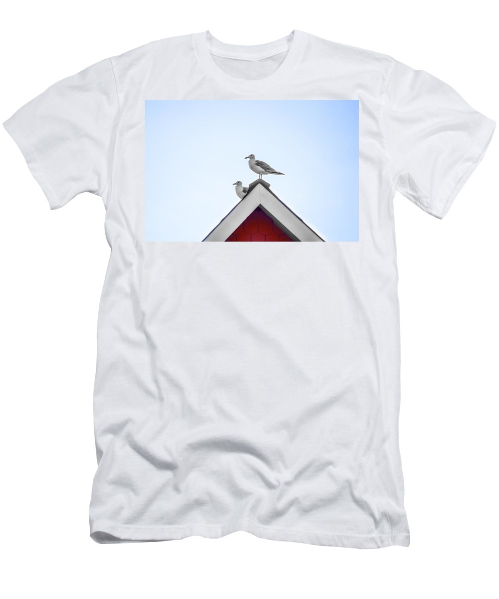 Seagulls Men's T-Shirt (Athletic Fit) featuring the photograph Seagulls Perched On The Rooftop by Bill Cannon