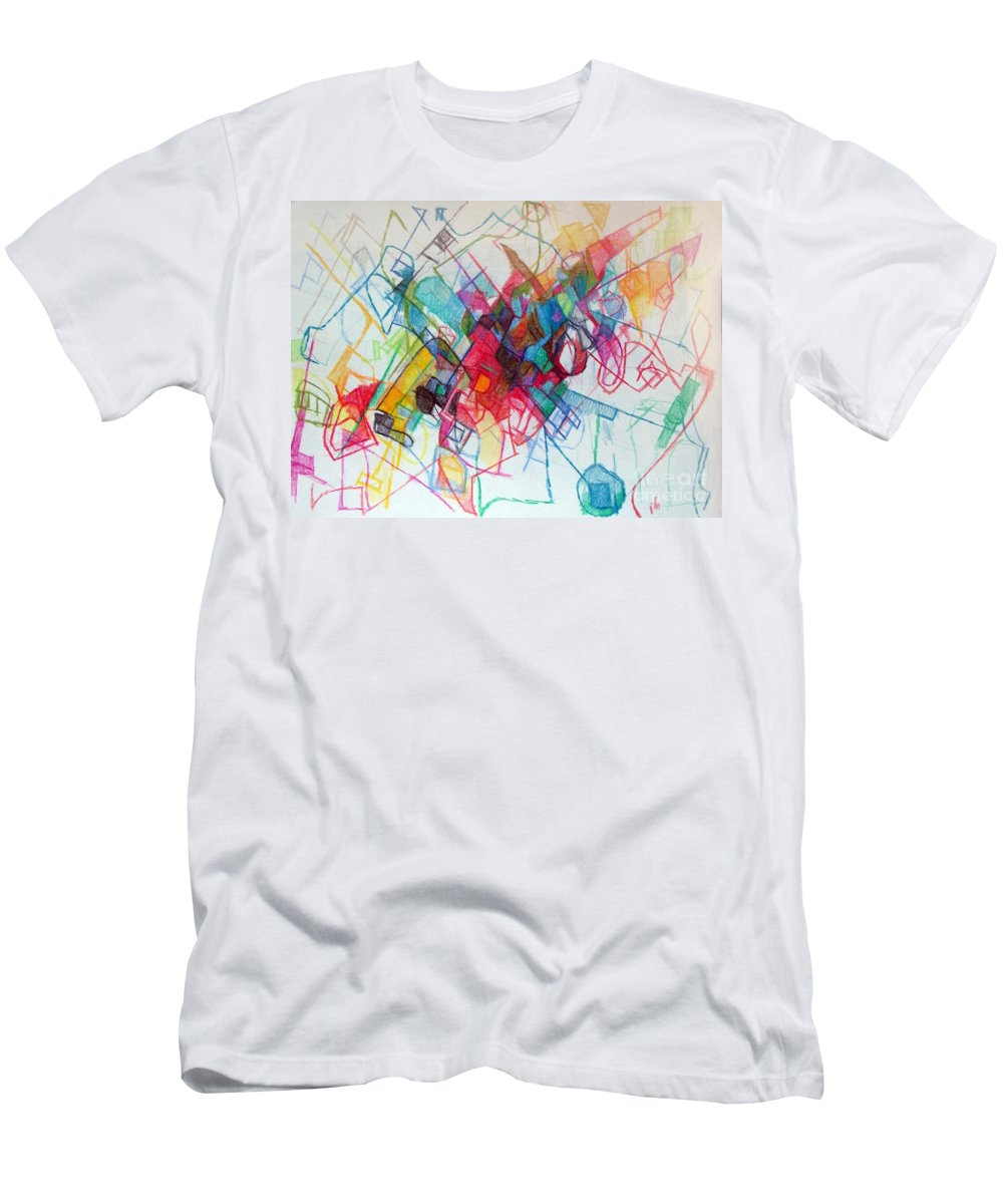 Torah Men's T-Shirt (Athletic Fit) featuring the drawing Seeking Suitable Study Partner 1 by David Baruch Wolk