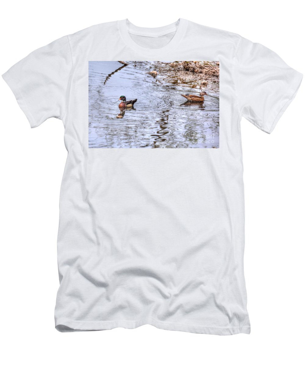 Ducks Men's T-Shirt (Athletic Fit) featuring the photograph Seperate Ways by M Dale
