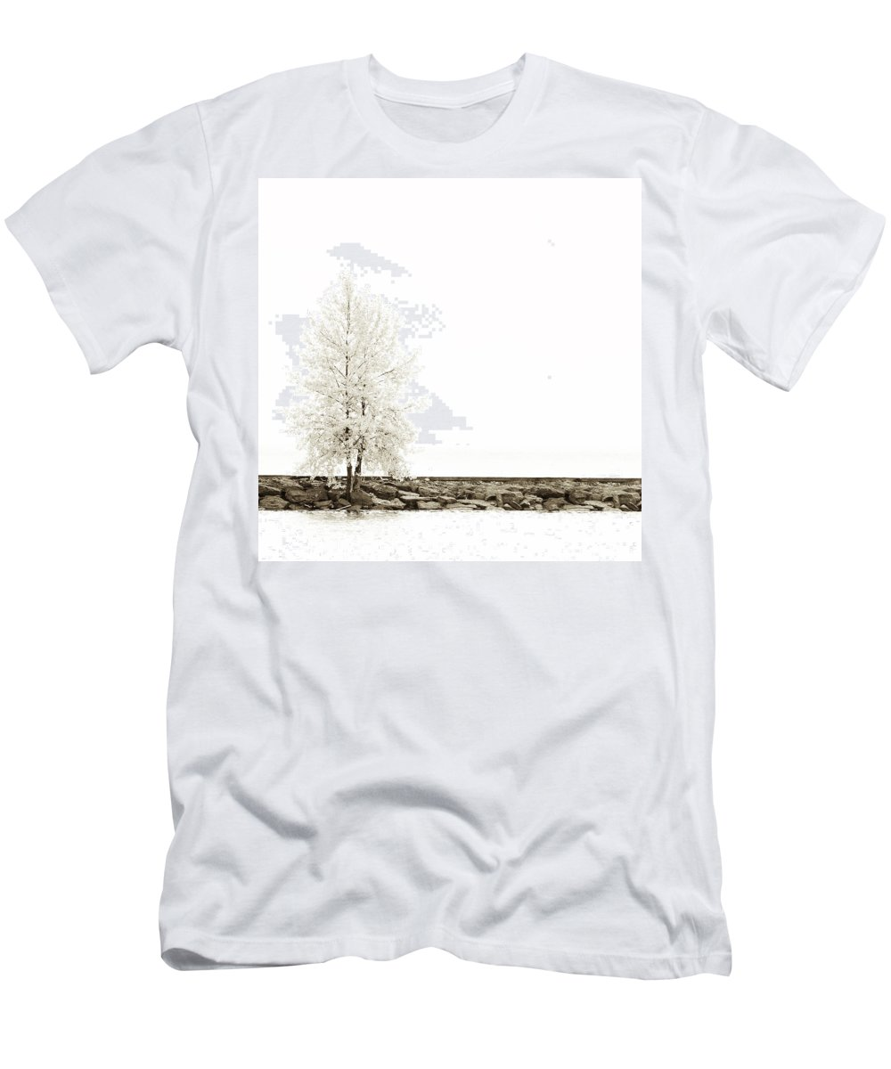 Autumn Men's T-Shirt (Athletic Fit) featuring the photograph Sepia Square Diptych Tree 12-7693 Set 2 Of 2 by U Schade
