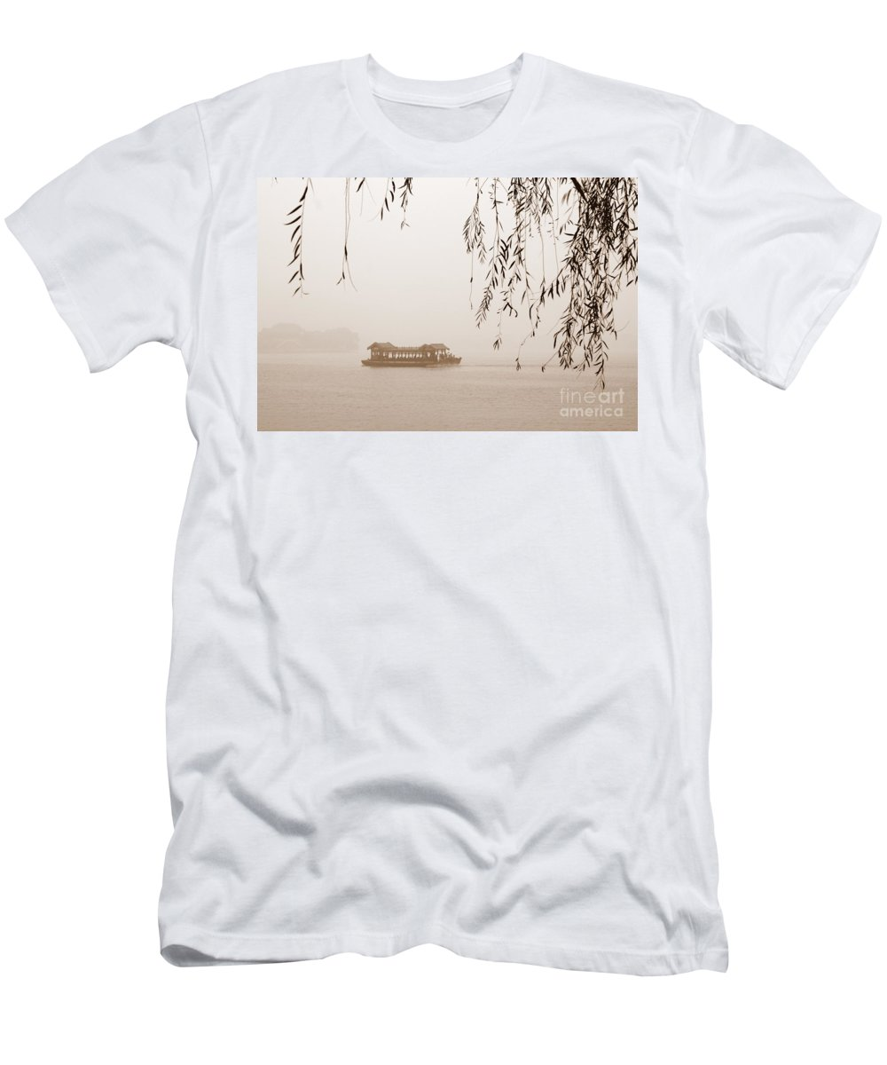 Sepia Men's T-Shirt (Athletic Fit) featuring the photograph Serenity In Sepia by Carol Groenen