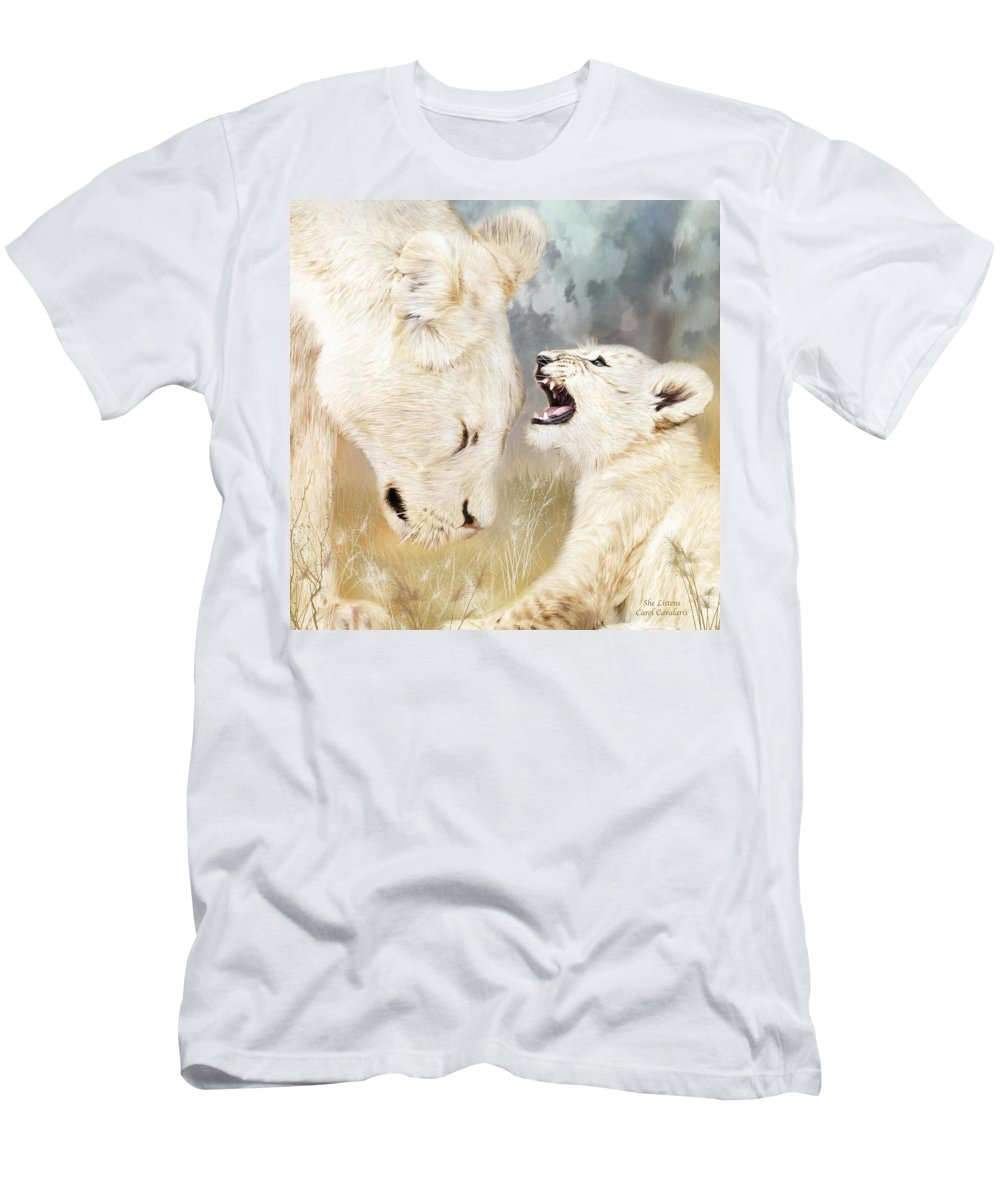 Lion Men's T-Shirt (Athletic Fit) featuring the mixed media She Listens - Square Format by Carol Cavalaris