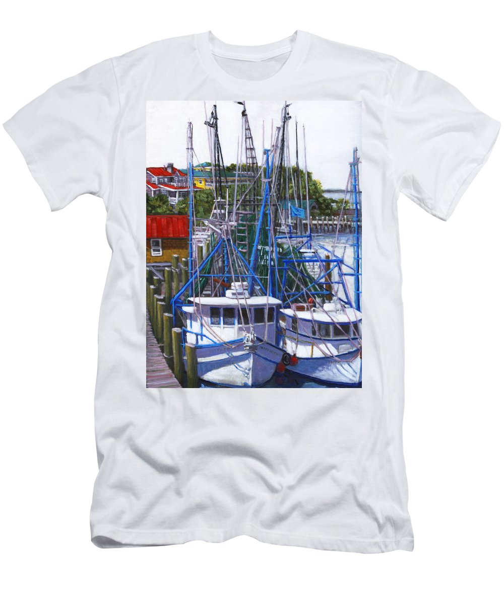 Shem Creek Men's T-Shirt (Athletic Fit) featuring the painting Shem Creek Shrimp Boats by Thomas Michael Meddaugh