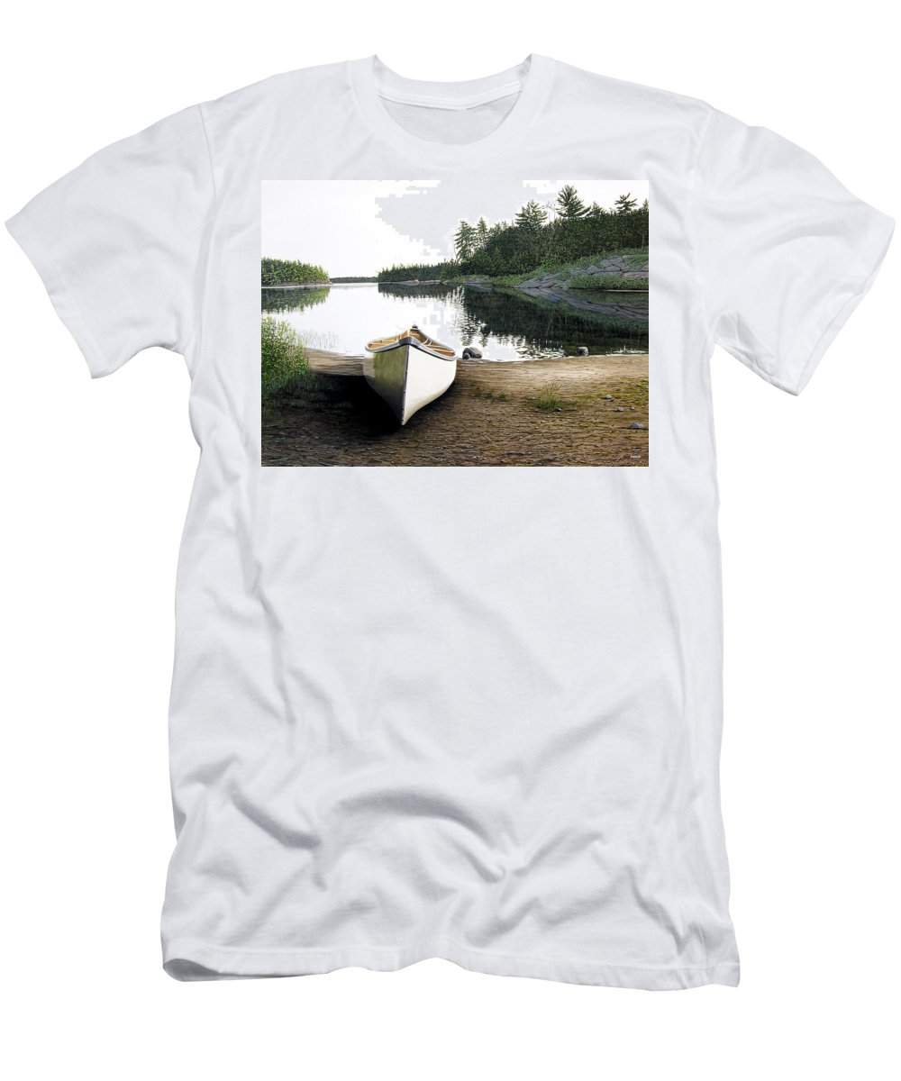 Landscapes Men's T-Shirt (Athletic Fit) featuring the painting Silent Retreat by Kenneth M Kirsch