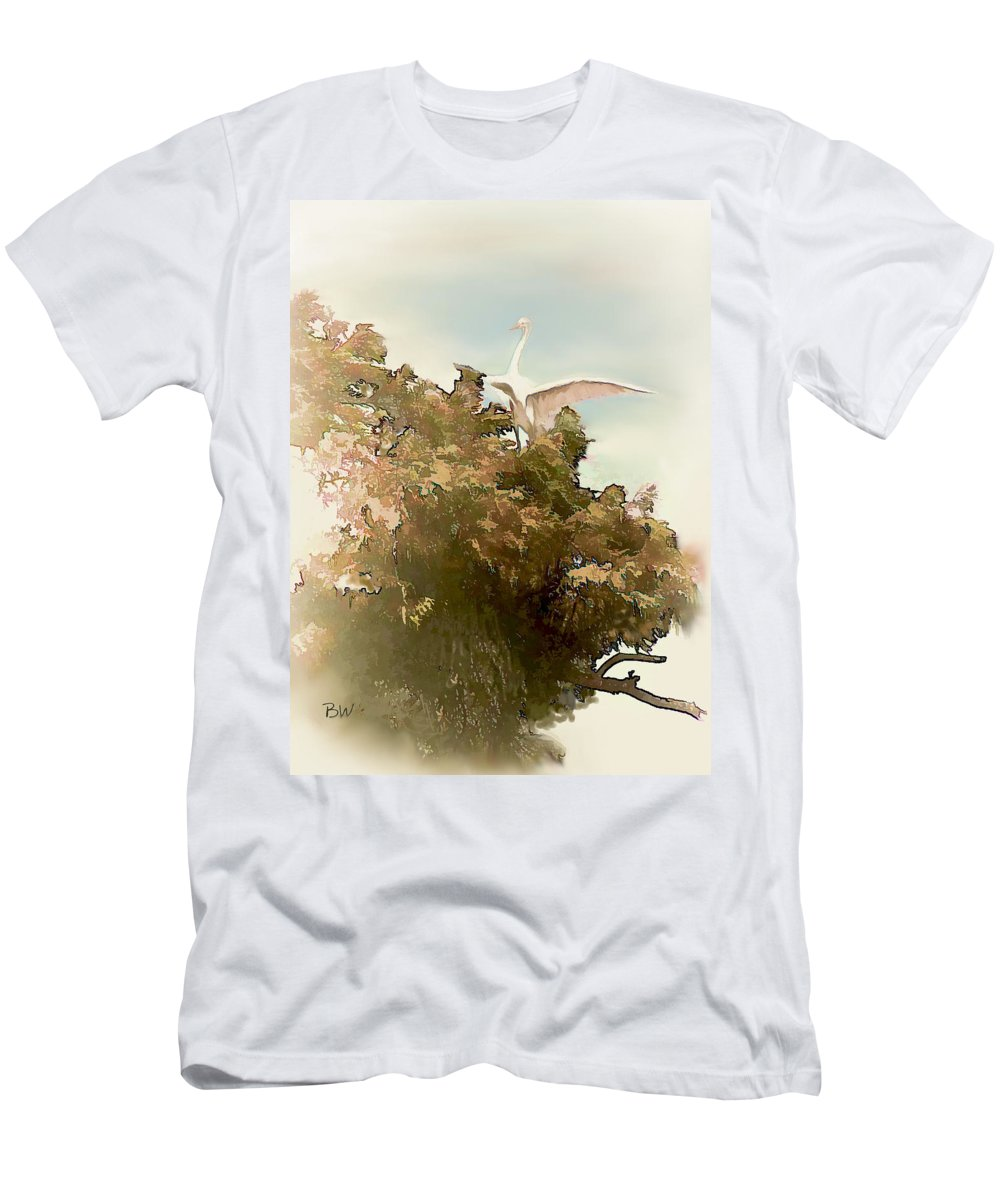 Crane Men's T-Shirt (Athletic Fit) featuring the photograph Sitting Pretty by Bonnie Willis
