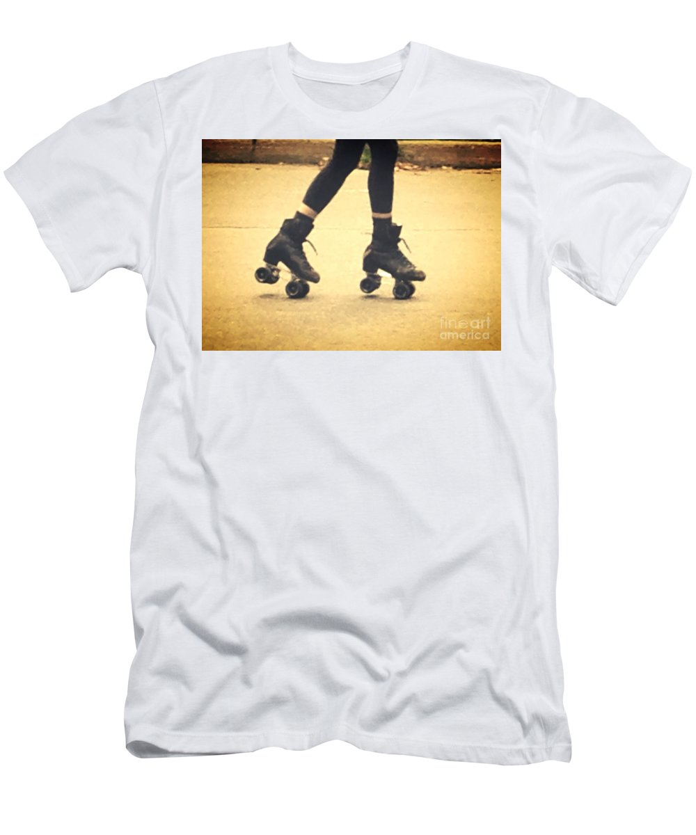 Skates Men's T-Shirt (Athletic Fit) featuring the photograph Skates In Motion by Christy Gendalia