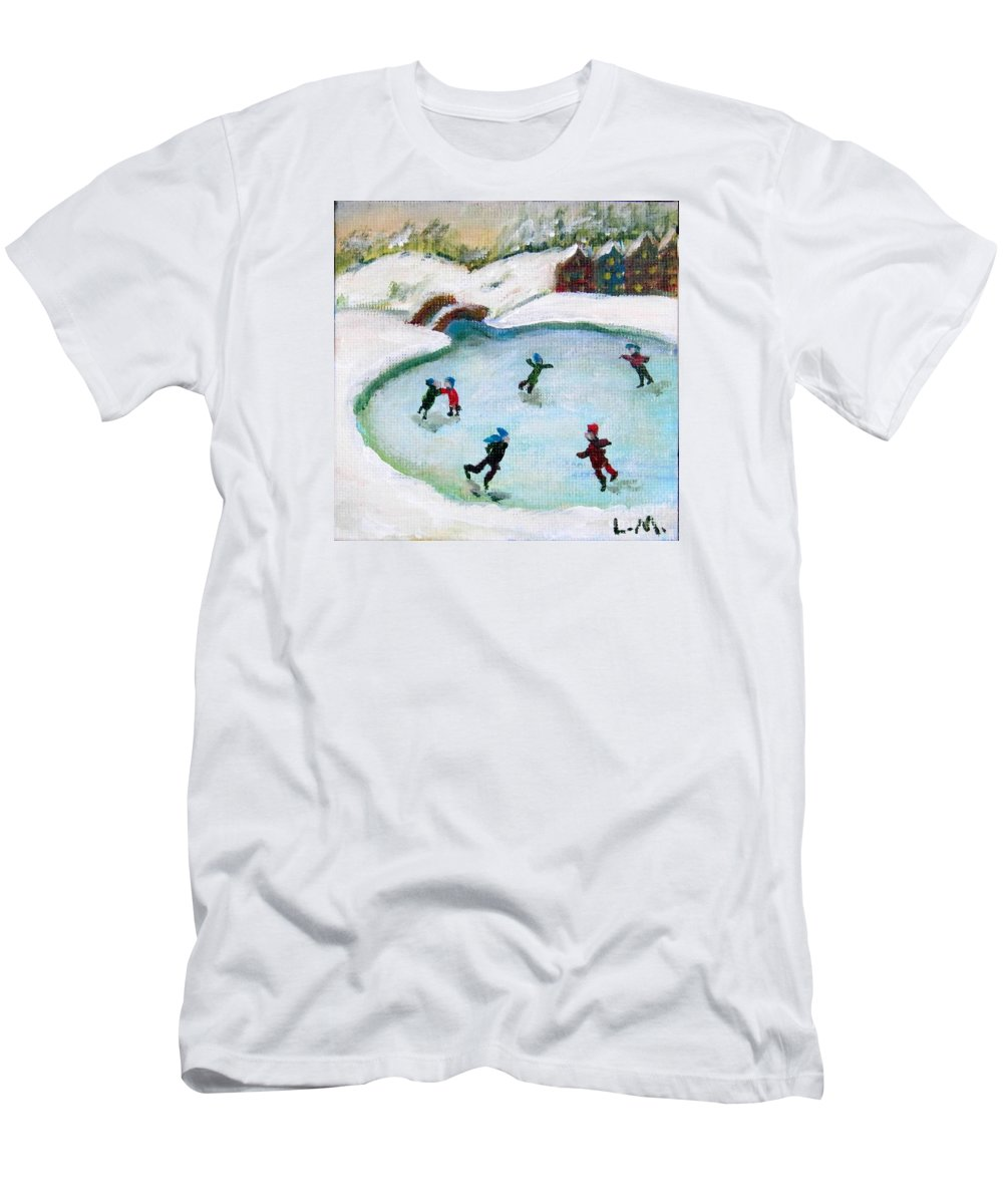 Ice Skate T-Shirt featuring the painting Skating Pond by Laurie Morgan