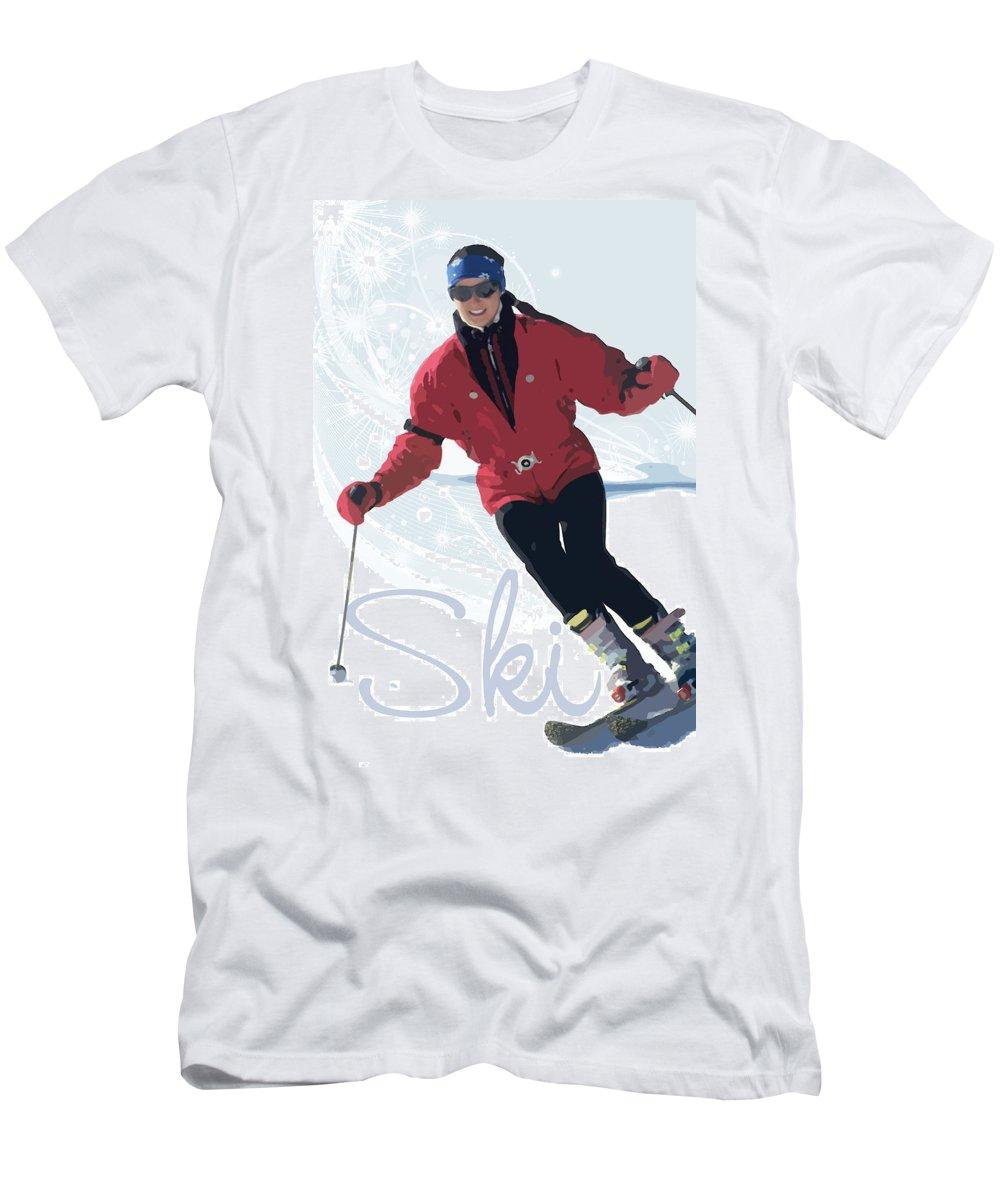 Snow Men's T-Shirt (Athletic Fit) featuring the digital art Ski 3 by Anita Hubbard