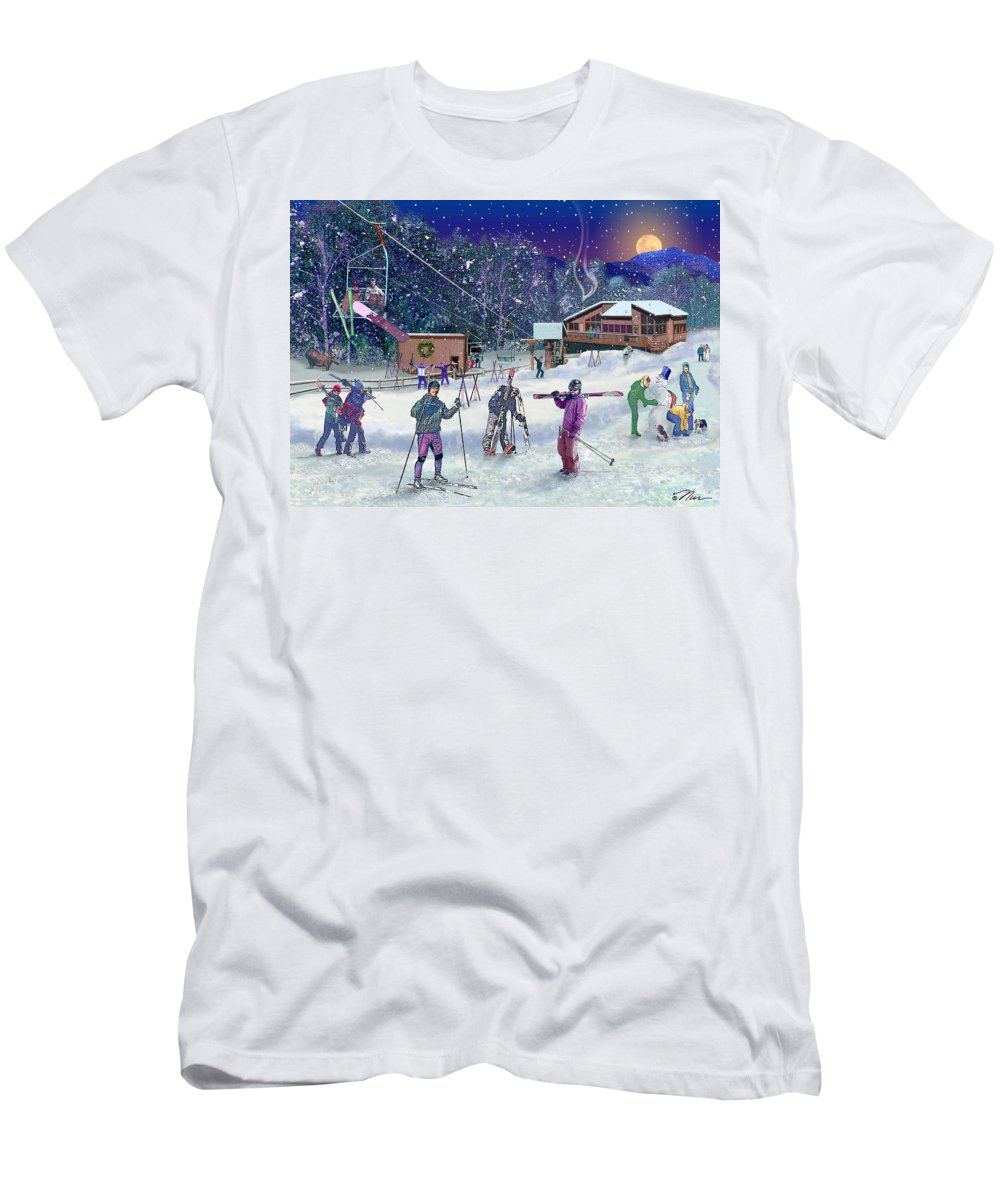 Ski Men's T-Shirt (Athletic Fit) featuring the digital art Ski Area Campton Mountain by Nancy Griswold