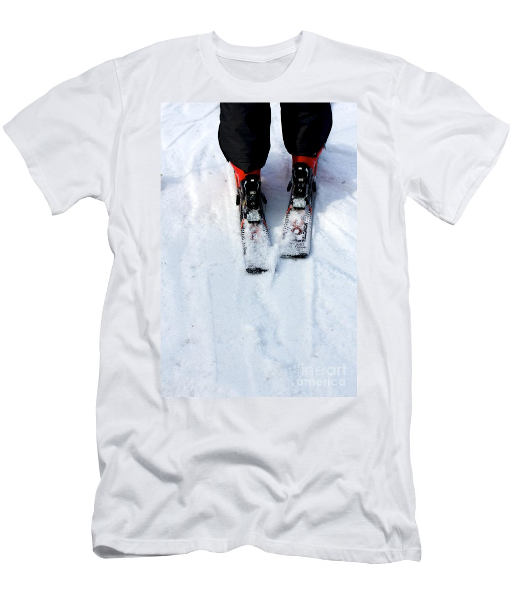 Black Men's T-Shirt (Athletic Fit) featuring the photograph Skier by Jannis Werner