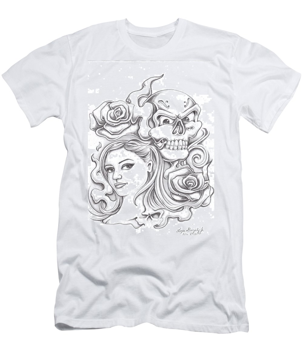 Skull Men's T-Shirt (Athletic Fit) featuring the drawing Skull And Roses by Lupe Gonzalez