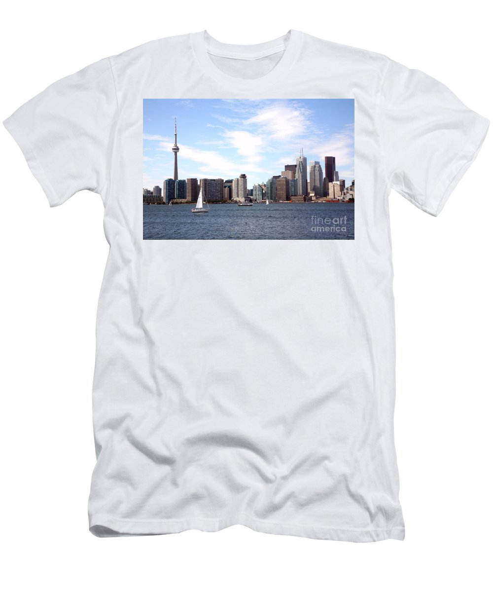 Scotia Plaza Men's T-Shirt (Athletic Fit) featuring the photograph Skyline Of Toronto Ontario by Bill Cobb