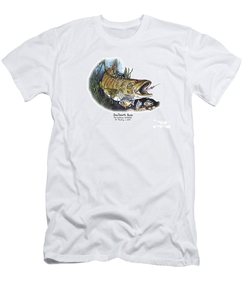 Fish Men's T-Shirt (Athletic Fit) featuring the mixed media Smallmouth Bass by Art MacKay