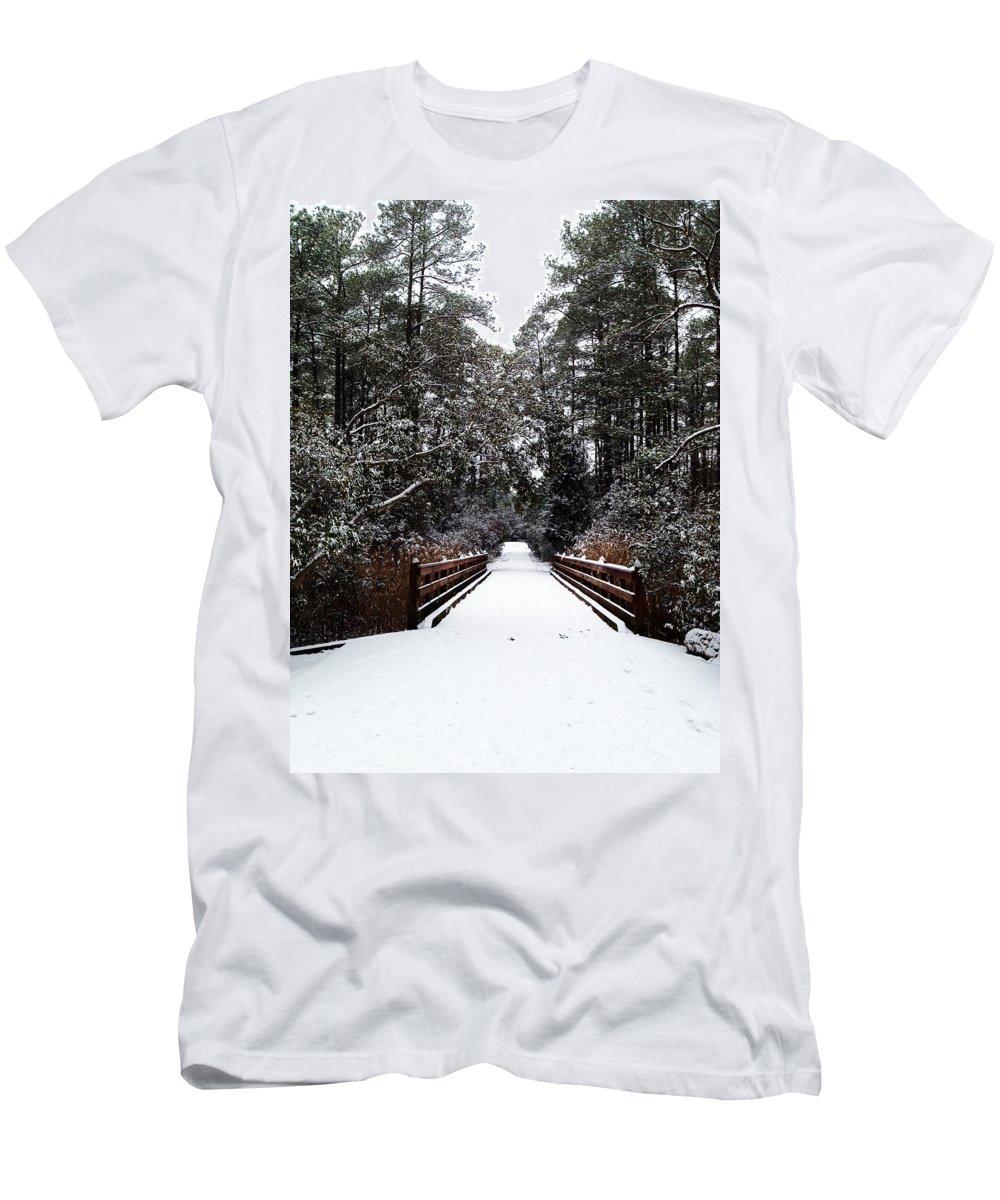Photograph Men's T-Shirt (Athletic Fit) featuring the photograph Snow Bridge by Nicole Parks