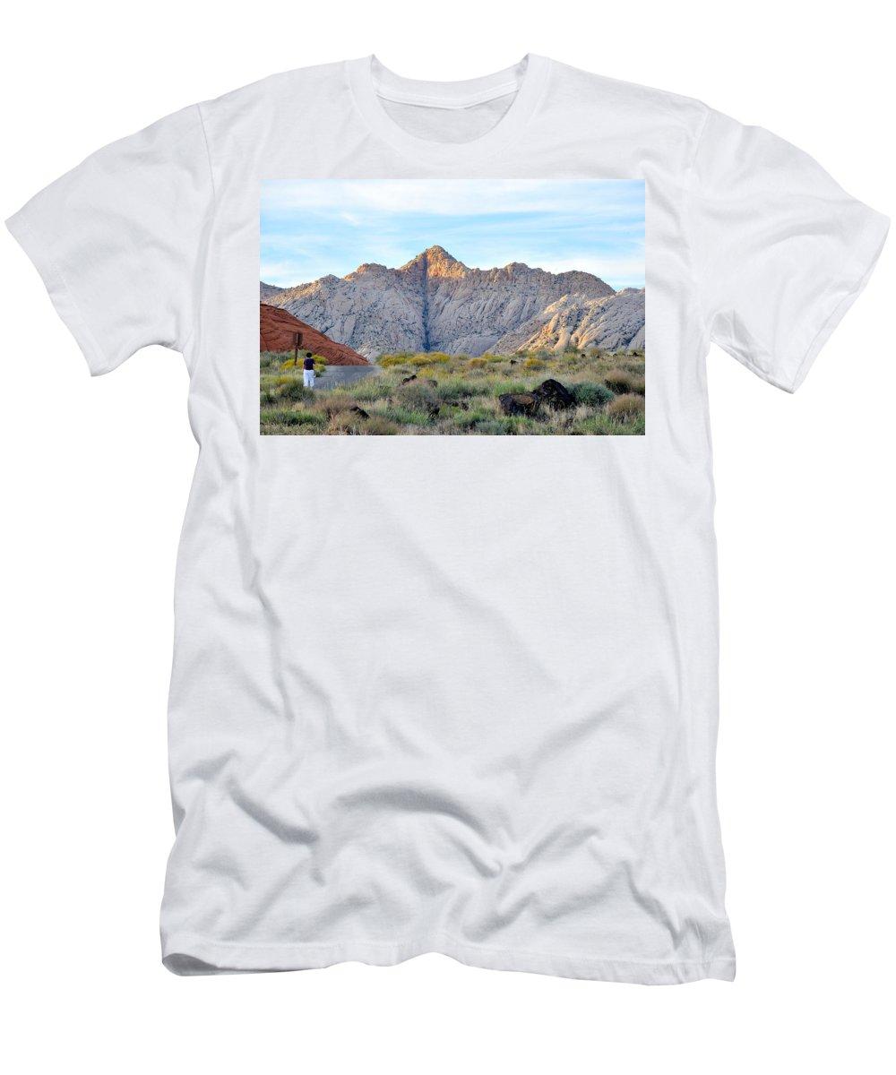 Black Knight Holdings; Randy Giesbrecht; Donna Giesbrecht ;snow Canyon Men's T-Shirt (Athletic Fit) featuring the photograph Snow Canyon by Randy Giesbrecht