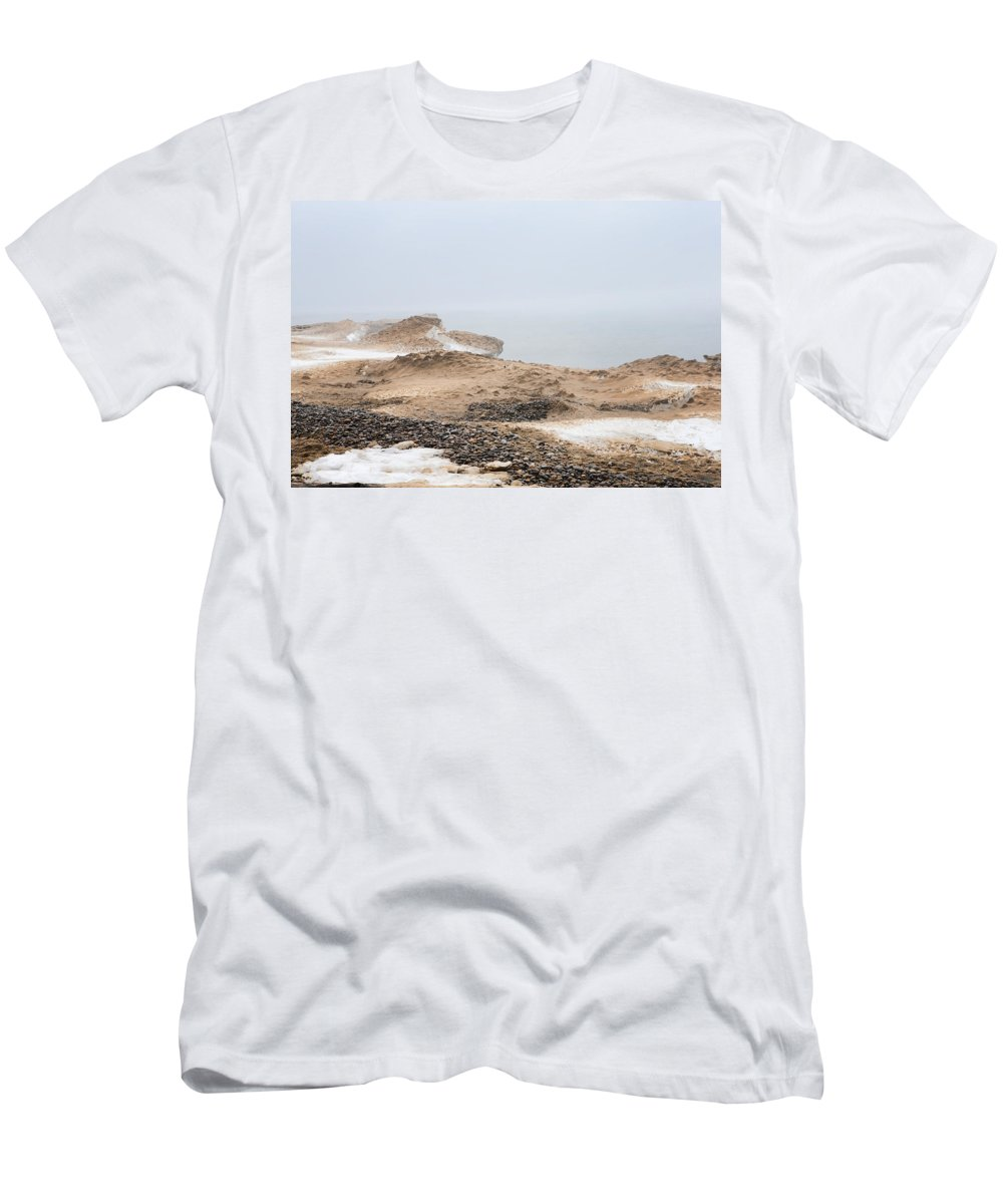 Lake Men's T-Shirt (Athletic Fit) featuring the photograph Snow Fog At Whitefish Point by Evie Carrier