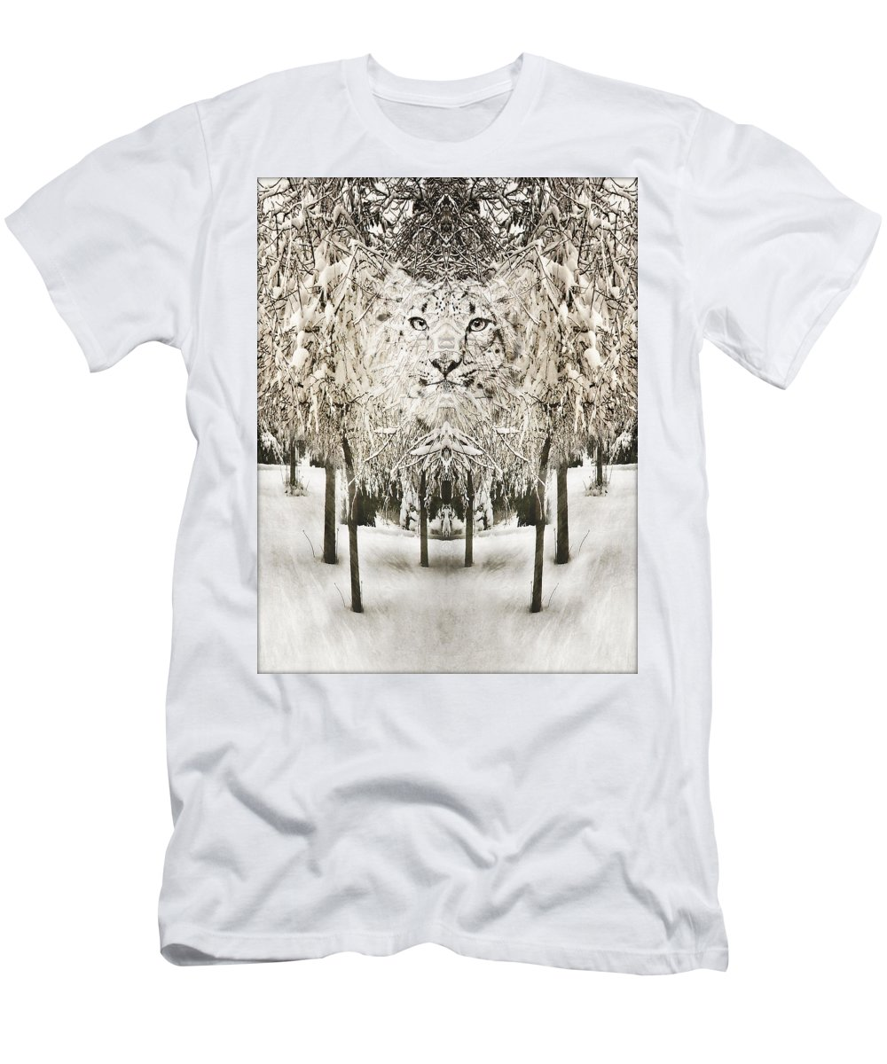 Snow Men's T-Shirt (Athletic Fit) featuring the photograph Snow Leopard by John Anderson
