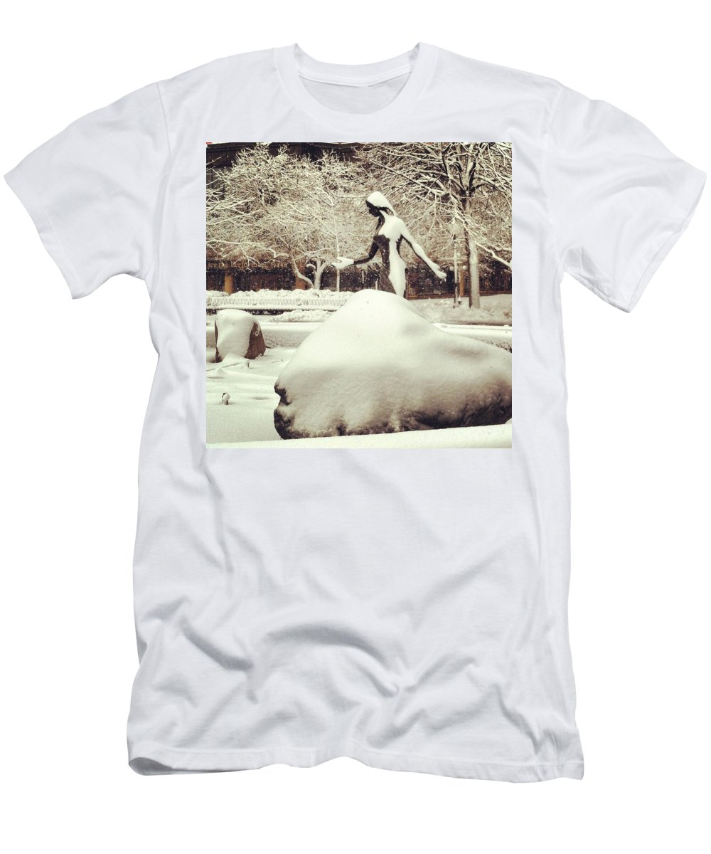 Woman Men's T-Shirt (Athletic Fit) featuring the photograph Snow Woman by Jana Nyberg