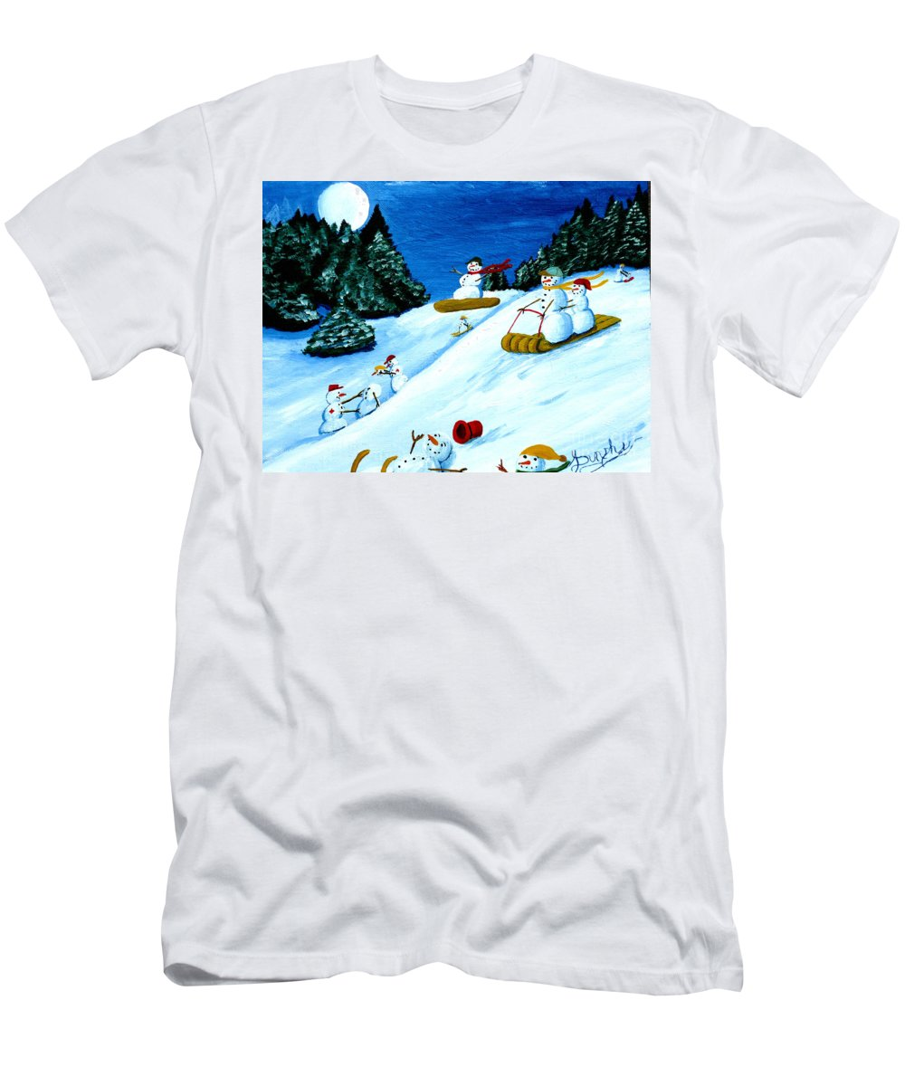Snow Men's T-Shirt (Athletic Fit) featuring the painting Snowmans Winter Sports by Anthony Dunphy