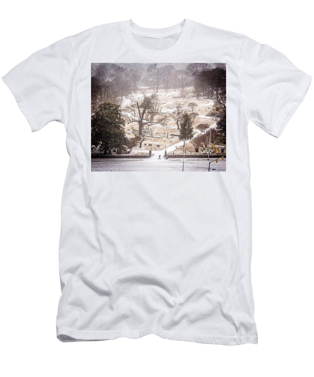 Historic Oak Hill Cemetery Men's T-Shirt (Athletic Fit) featuring the photograph Snowy Cemetery by Tracy Brock