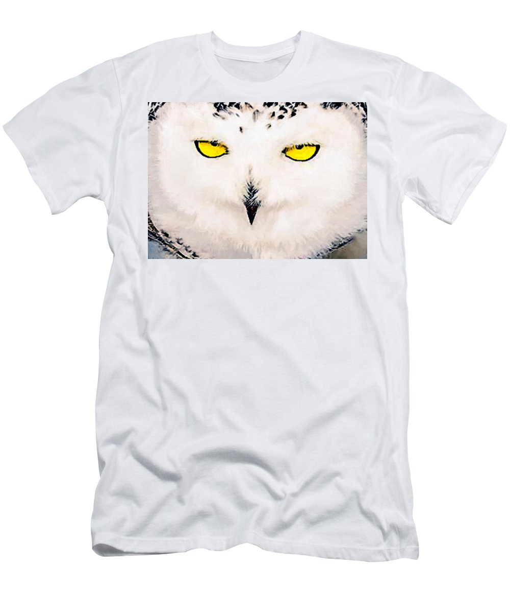 Owl Men's T-Shirt (Athletic Fit) featuring the painting Artic Snowy Owl Painting by Bob and Nadine Johnston