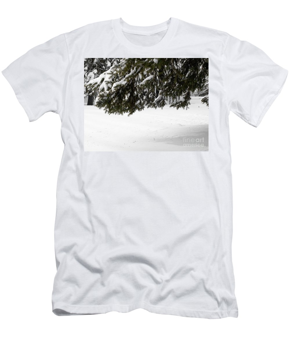 Snow Men's T-Shirt (Athletic Fit) featuring the photograph Snowy Tree Branches by Tara Lynn