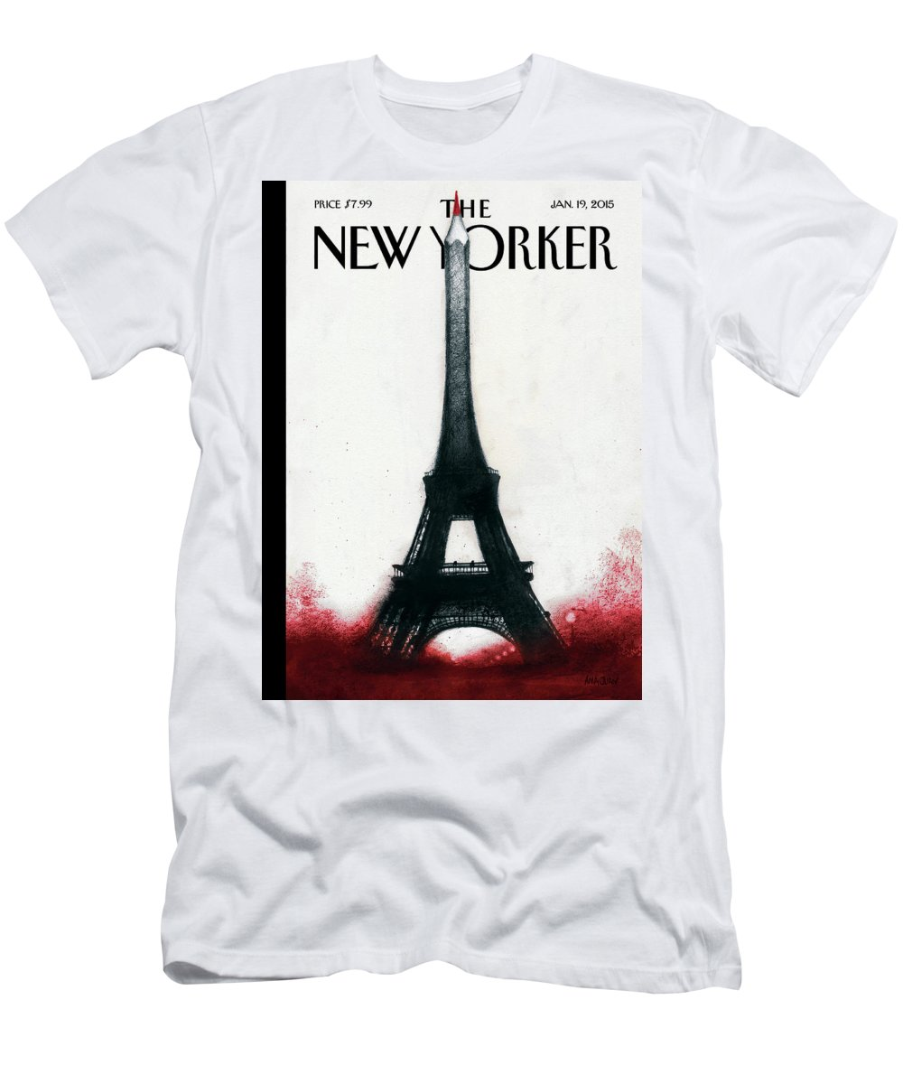 Charlie Hebdo T-Shirt featuring the painting Solidarite by Ana Juan
