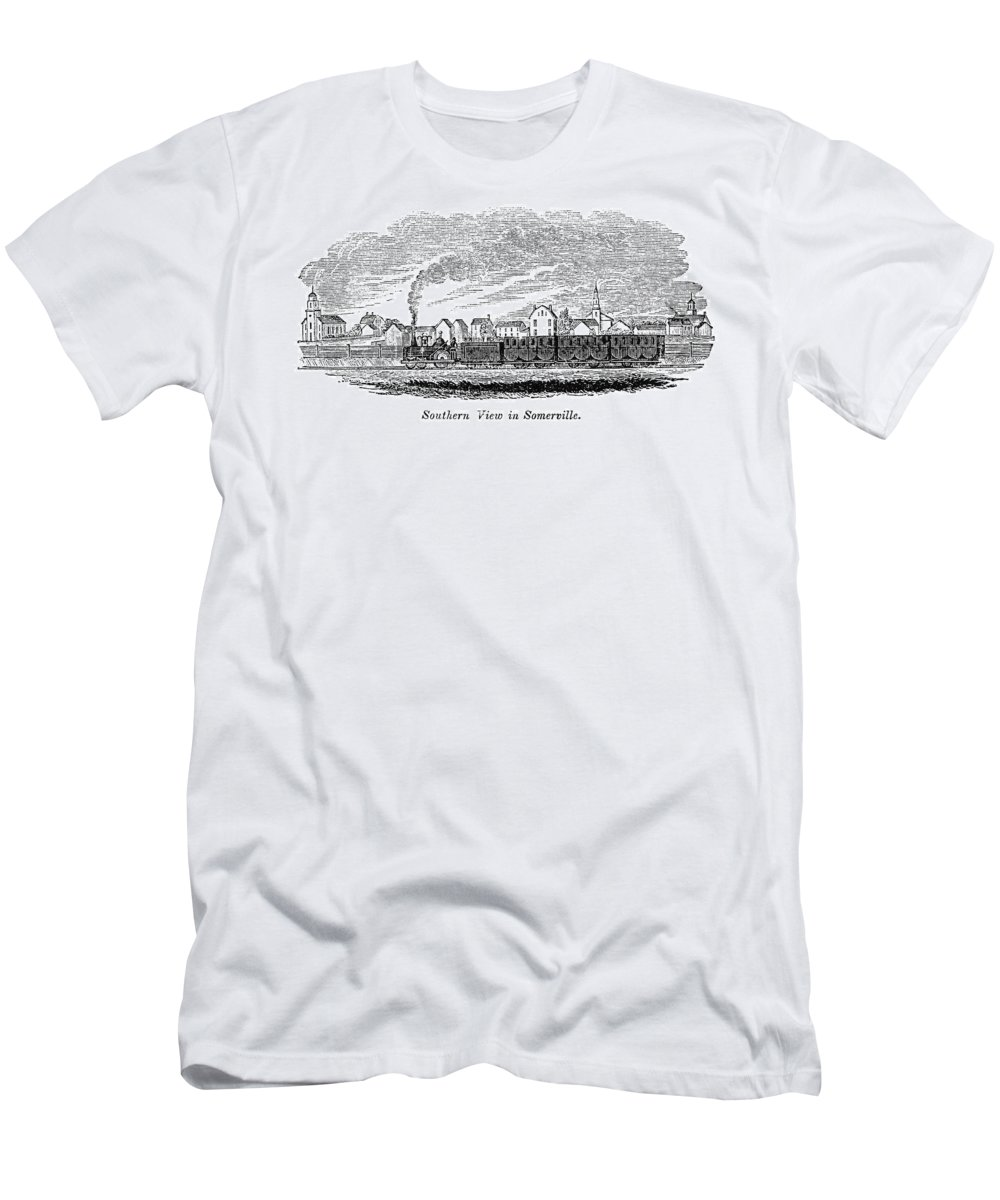 1844 Men's T-Shirt (Athletic Fit) featuring the painting Somerville, 1844 by Granger