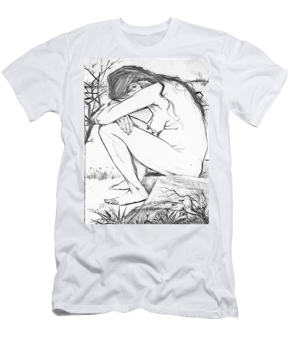 Trauma Men's T-Shirt (Athletic Fit) featuring the drawing Sorrow After Vincent Van Gogh by Taiche Acrylic Art