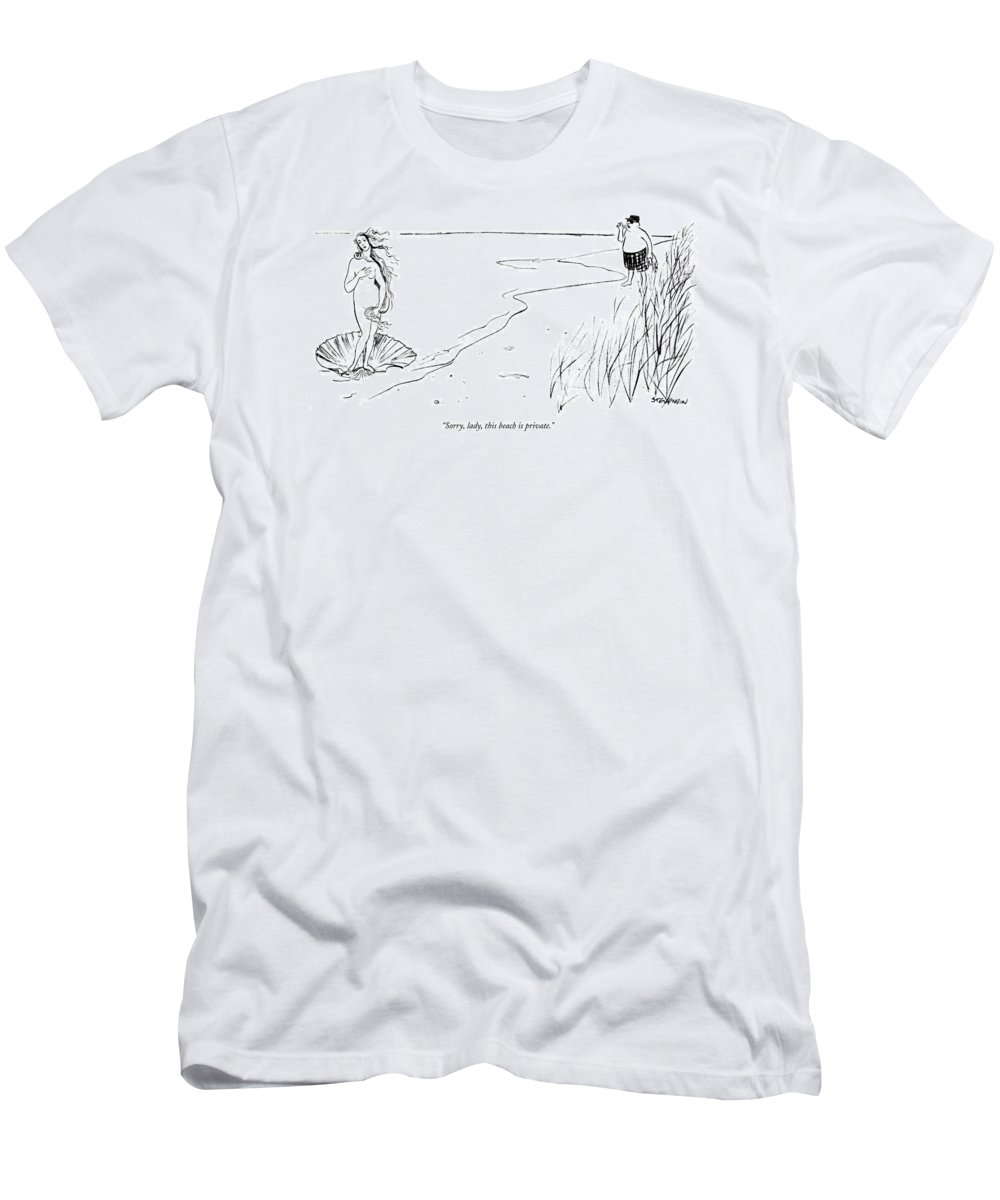 (man On Beach To Vision Of Venus On A Shell In The Water.) Seashore Art Painting Botticelli Birth Of Venus James Stevenson Artkey 47787 T-Shirt featuring the drawing Sorry, Lady, This Beach Is Private by James Stevenson