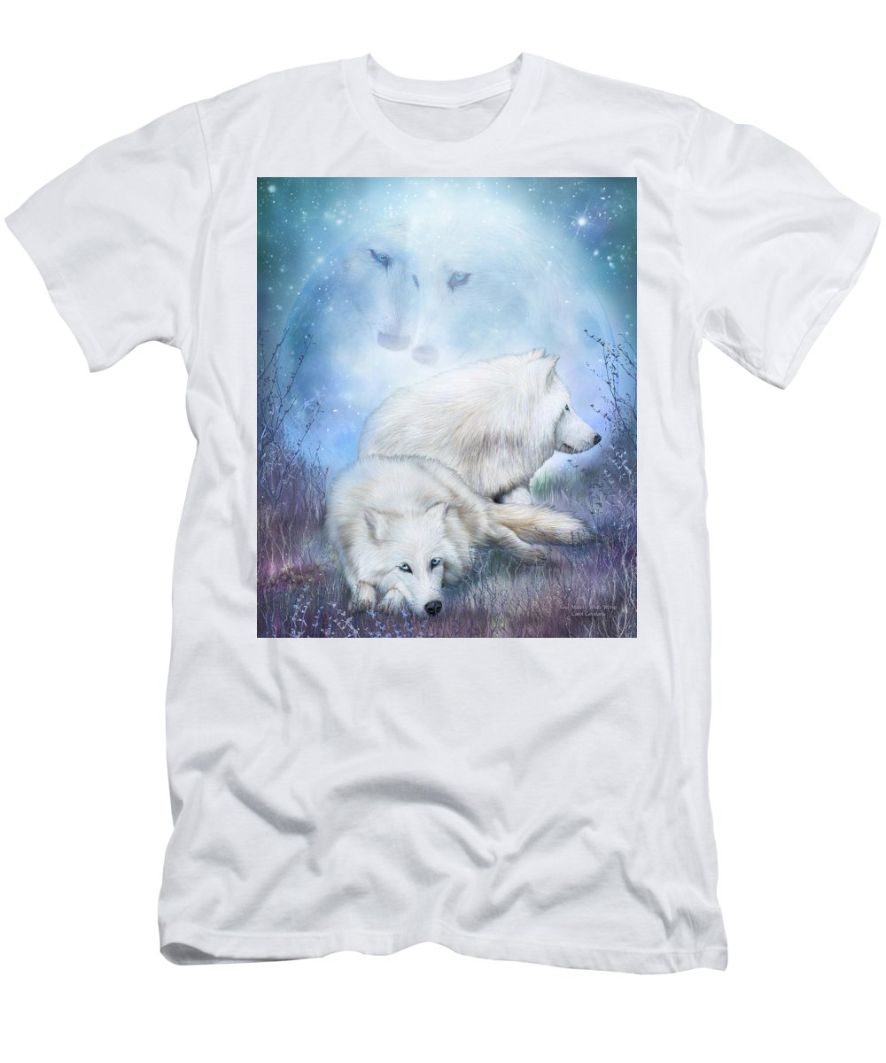 Wolf Men's T-Shirt (Athletic Fit) featuring the mixed media Soul Mates - White Wolves by Carol Cavalaris