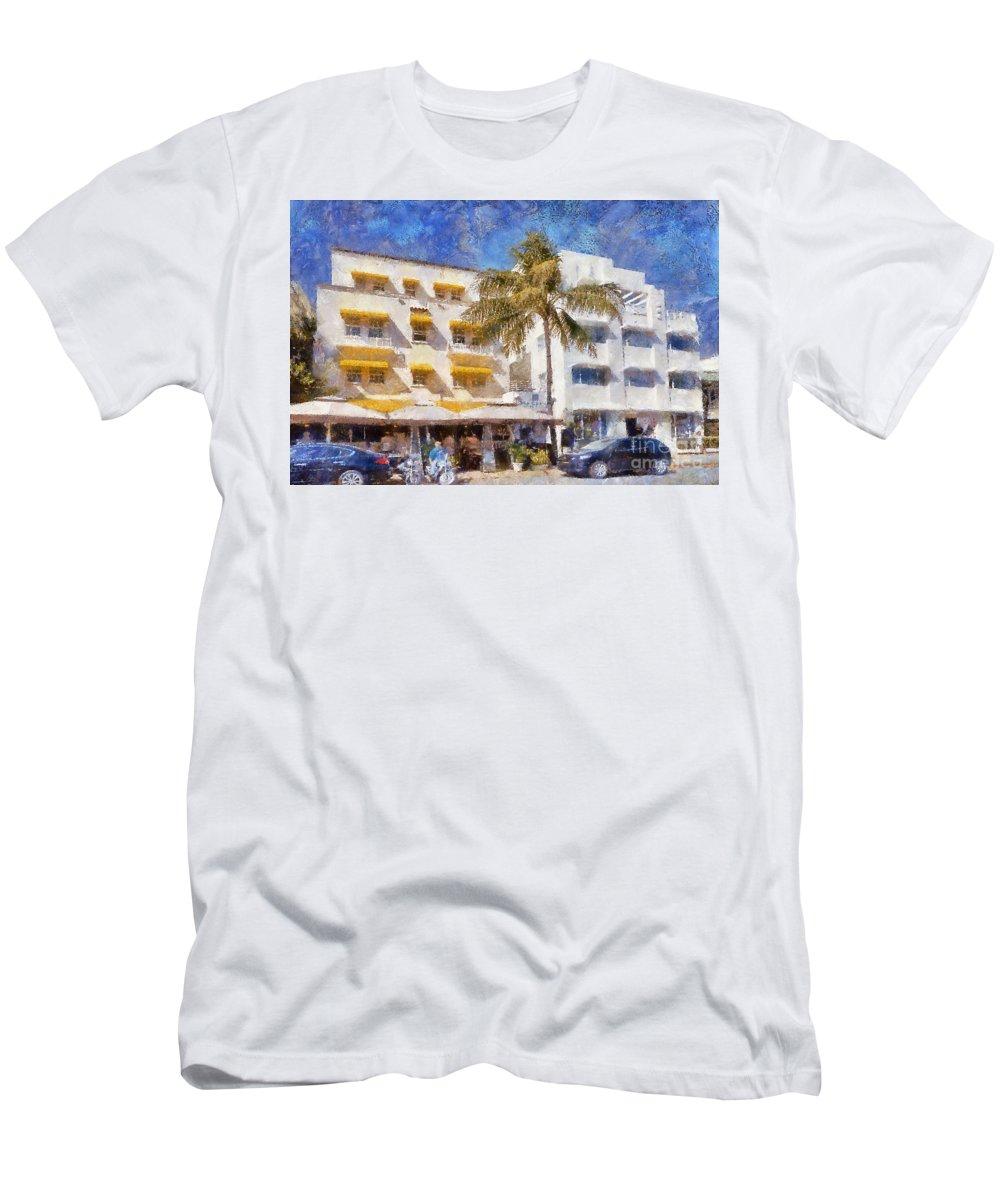Miami Men's T-Shirt (Athletic Fit) featuring the photograph South Beach Miami Art Deco Buildings by Les Palenik