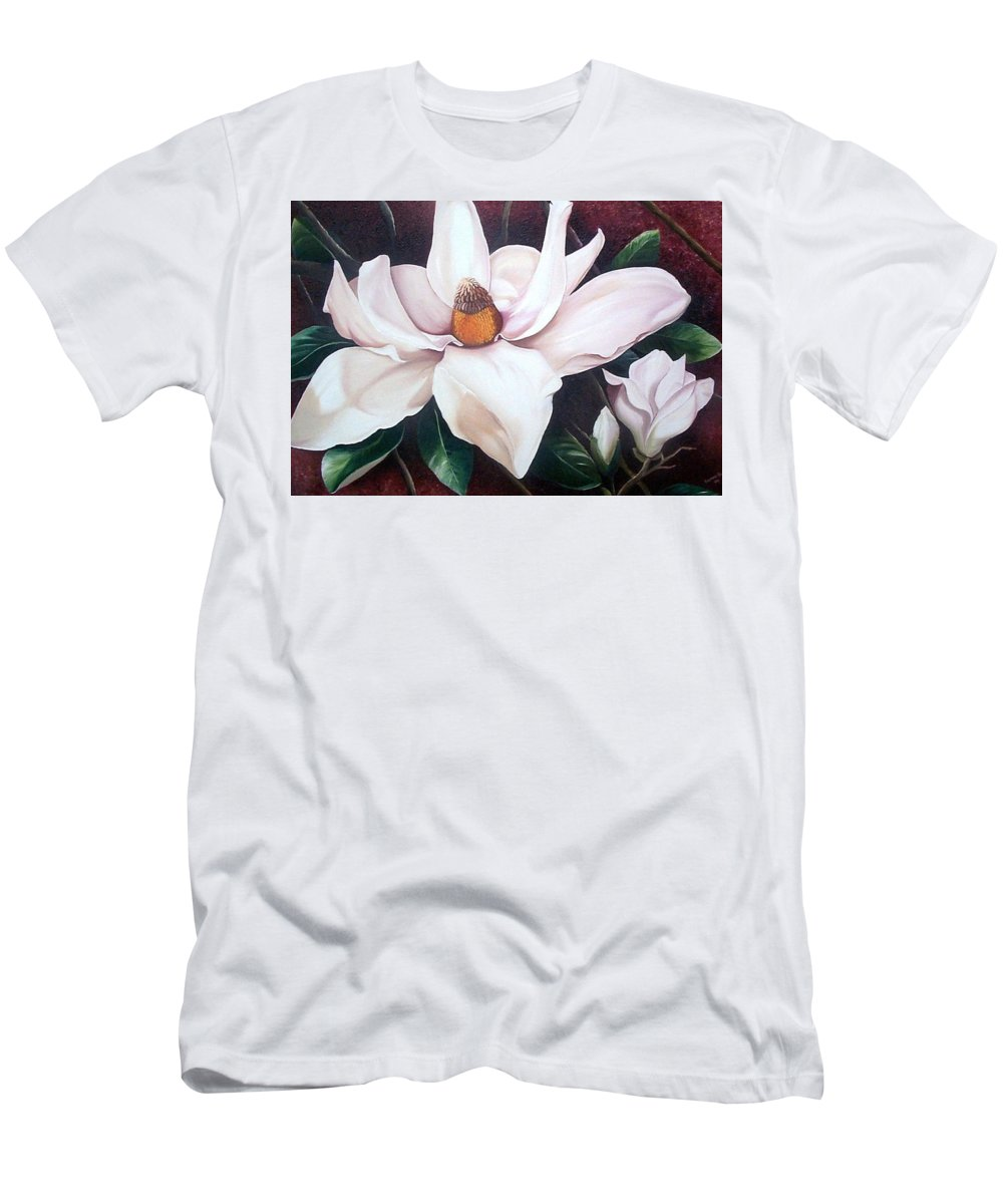 Magnolia Southern Bloom Floral Botanical White T-Shirt featuring the painting Southern Beauty by Karin Dawn Kelshall- Best