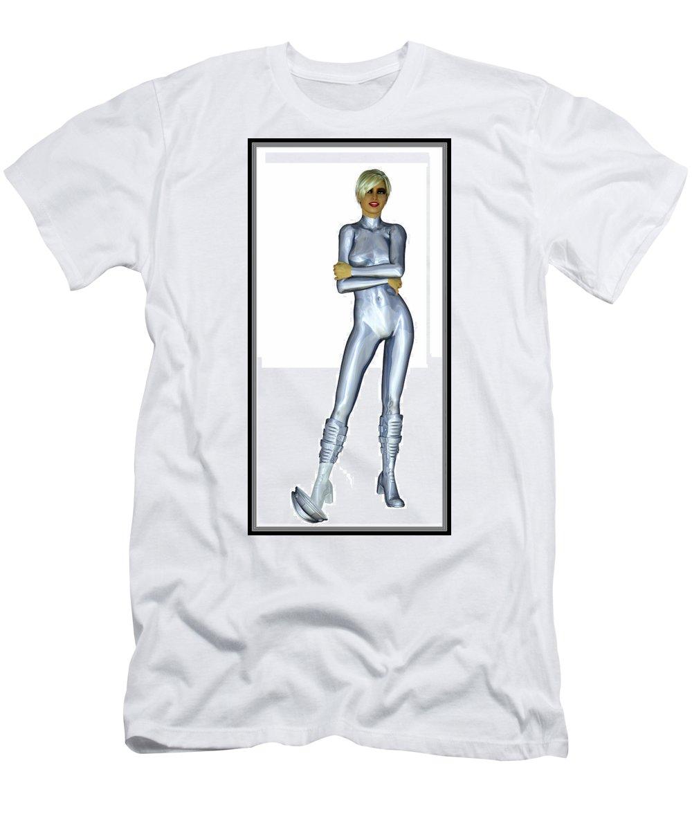 Portrait Men's T-Shirt (Athletic Fit) featuring the digital art Spacegirl 11... by Tim Fillingim