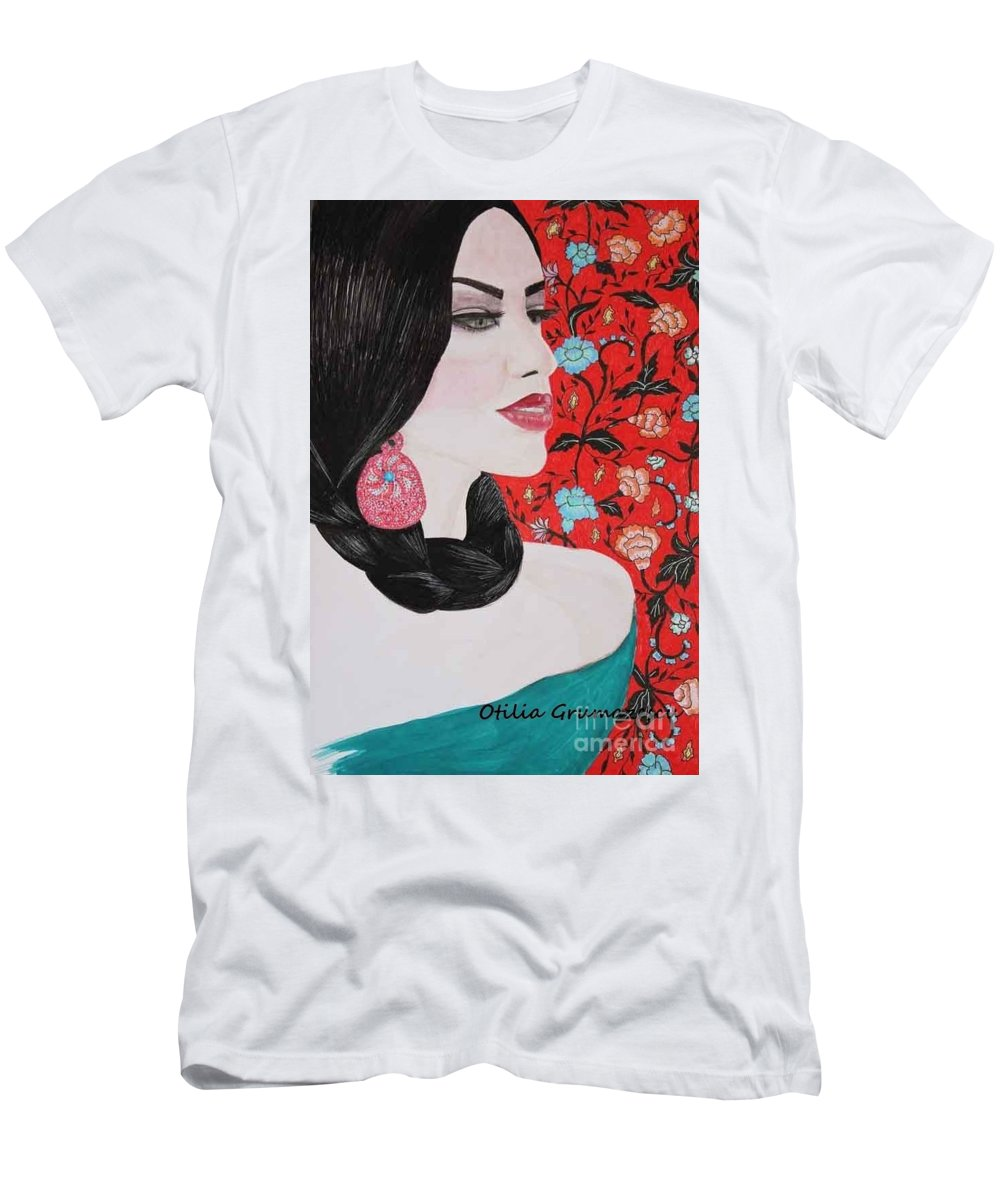 Spanish Men's T-Shirt (Athletic Fit) featuring the mixed media Spanish Dreaming by Otilia Grumazescu
