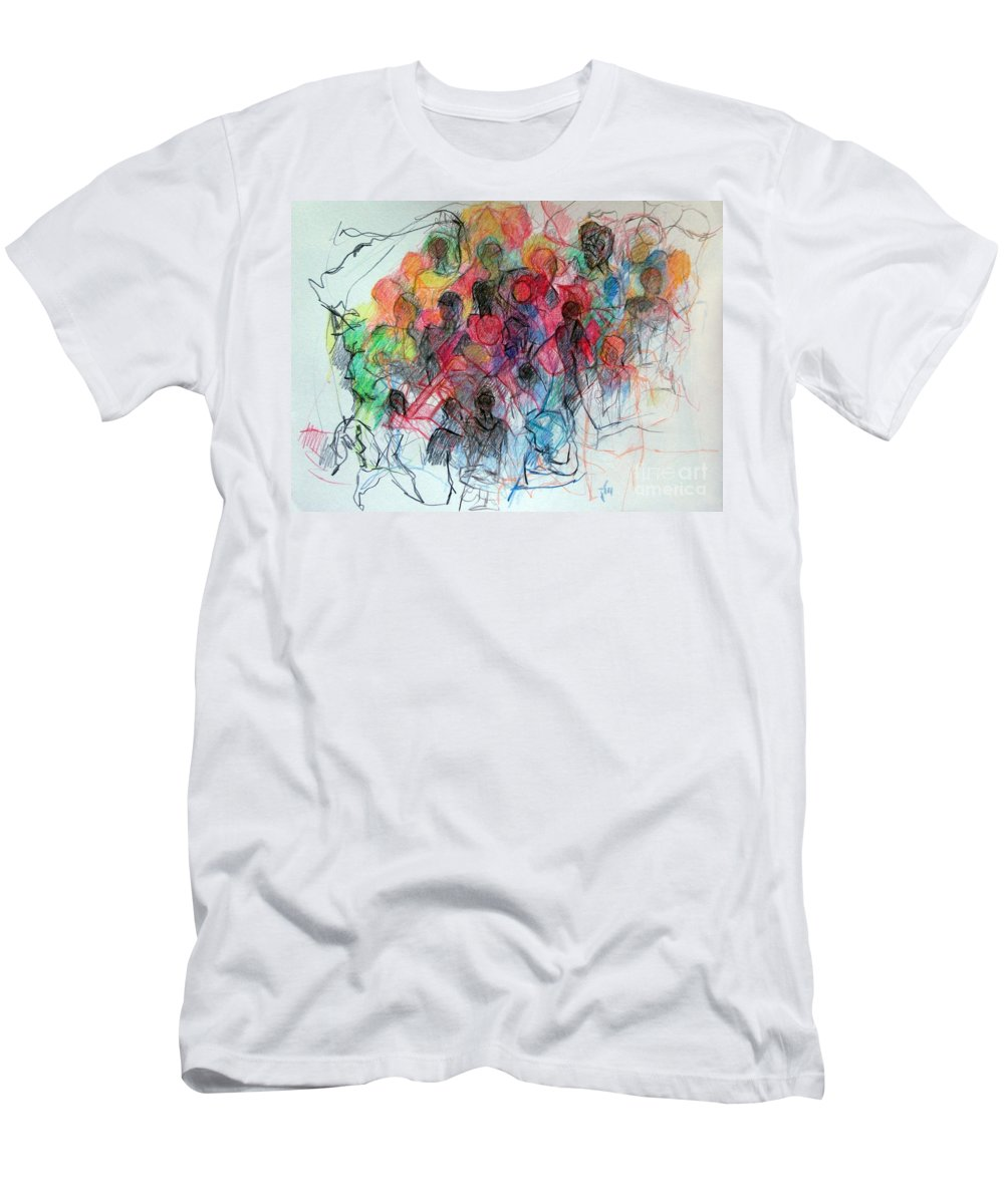 Torah Men's T-Shirt (Athletic Fit) featuring the drawing Special Needs Family by David Baruch Wolk