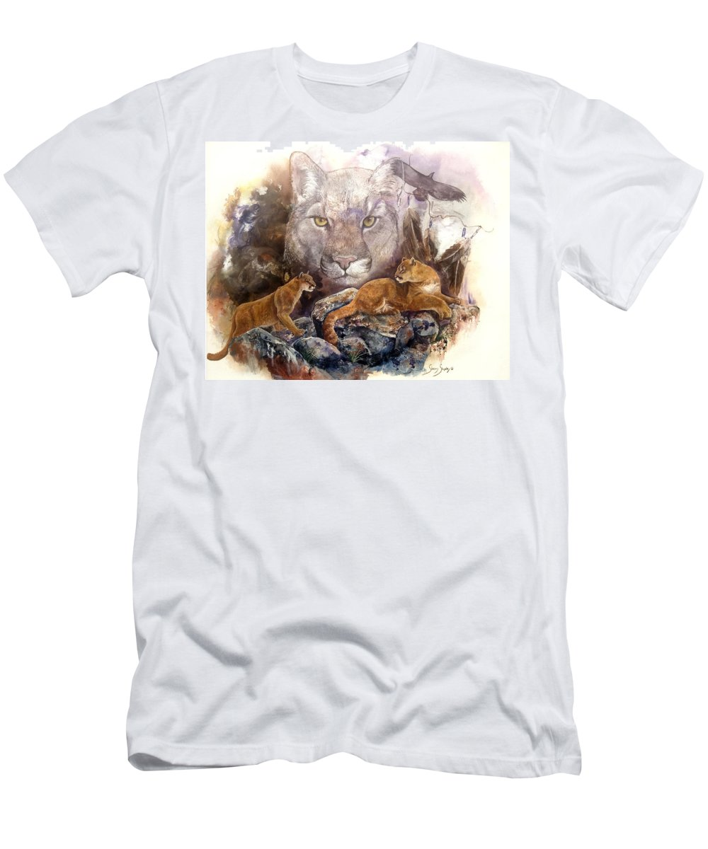 Cougar Men's T-Shirt (Athletic Fit) featuring the painting Spirit Cat by Sherry Shipley