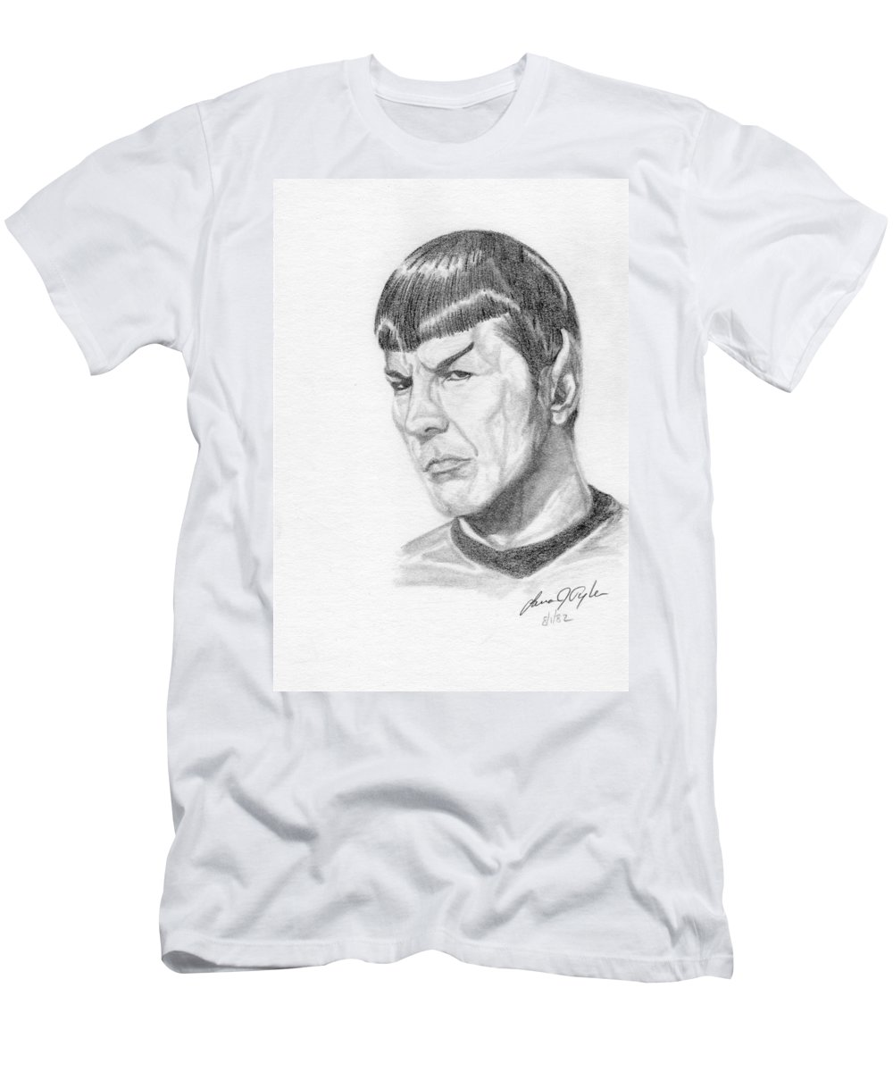 Star Trek Men's T-Shirt (Athletic Fit) featuring the drawing Spock by Lana Tyler