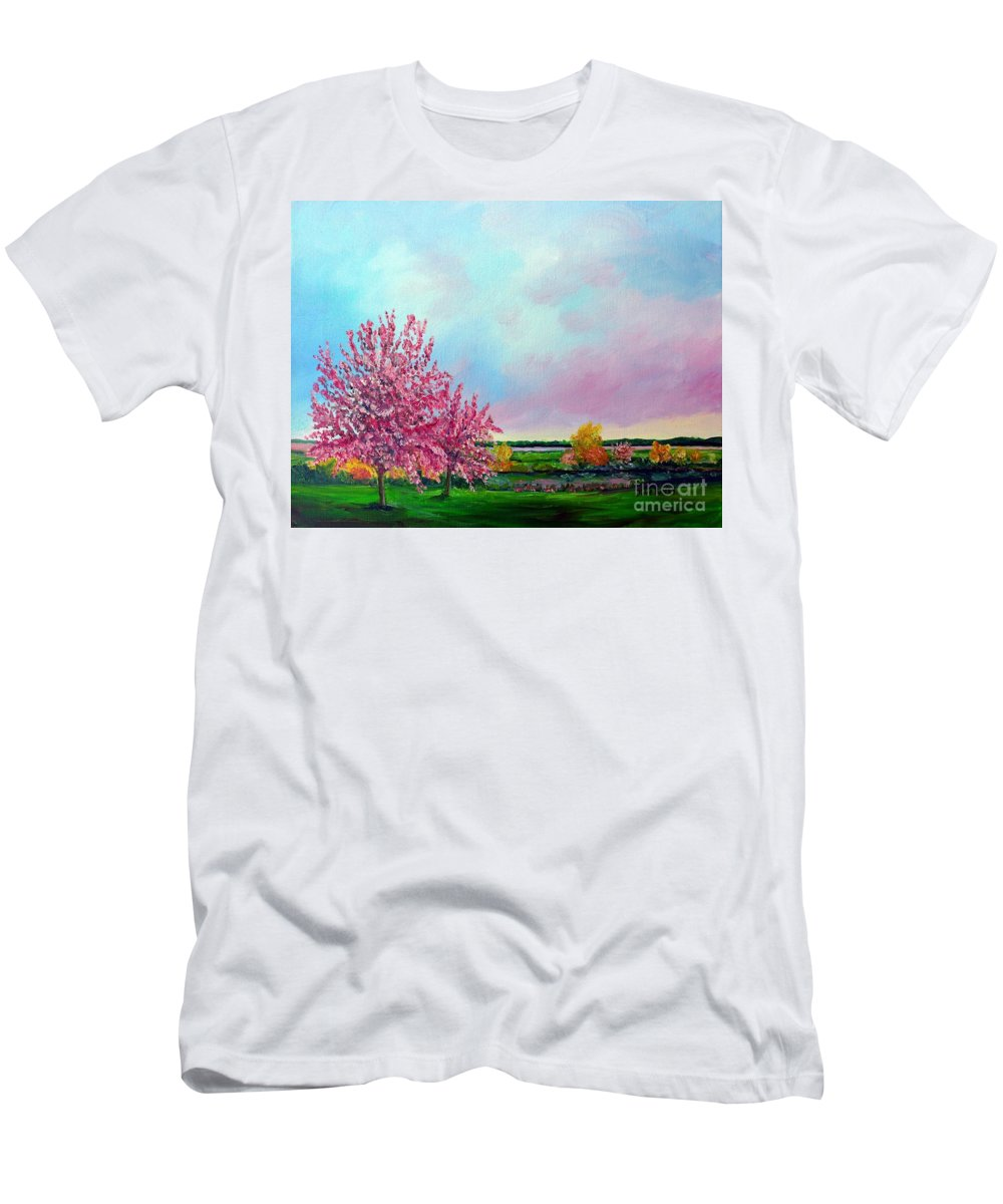 Spring Men's T-Shirt (Athletic Fit) featuring the painting Spring In Bloom by Julie Brugh Riffey