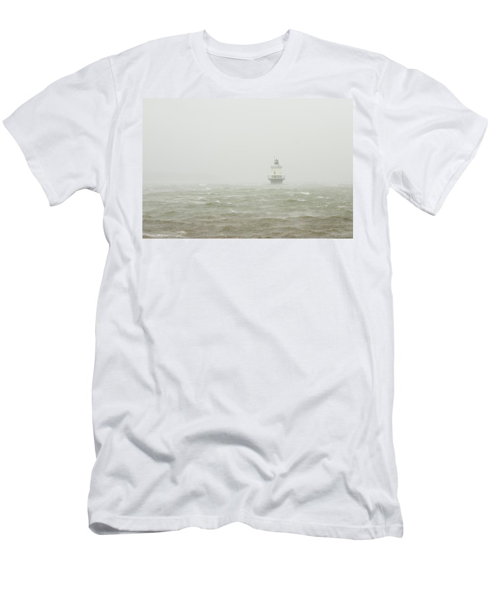 Maine Lighthouses Men's T-Shirt (Athletic Fit) featuring the photograph Spring Point Ledge Lighthouse In Storm In Portland Maine by Keith Webber Jr