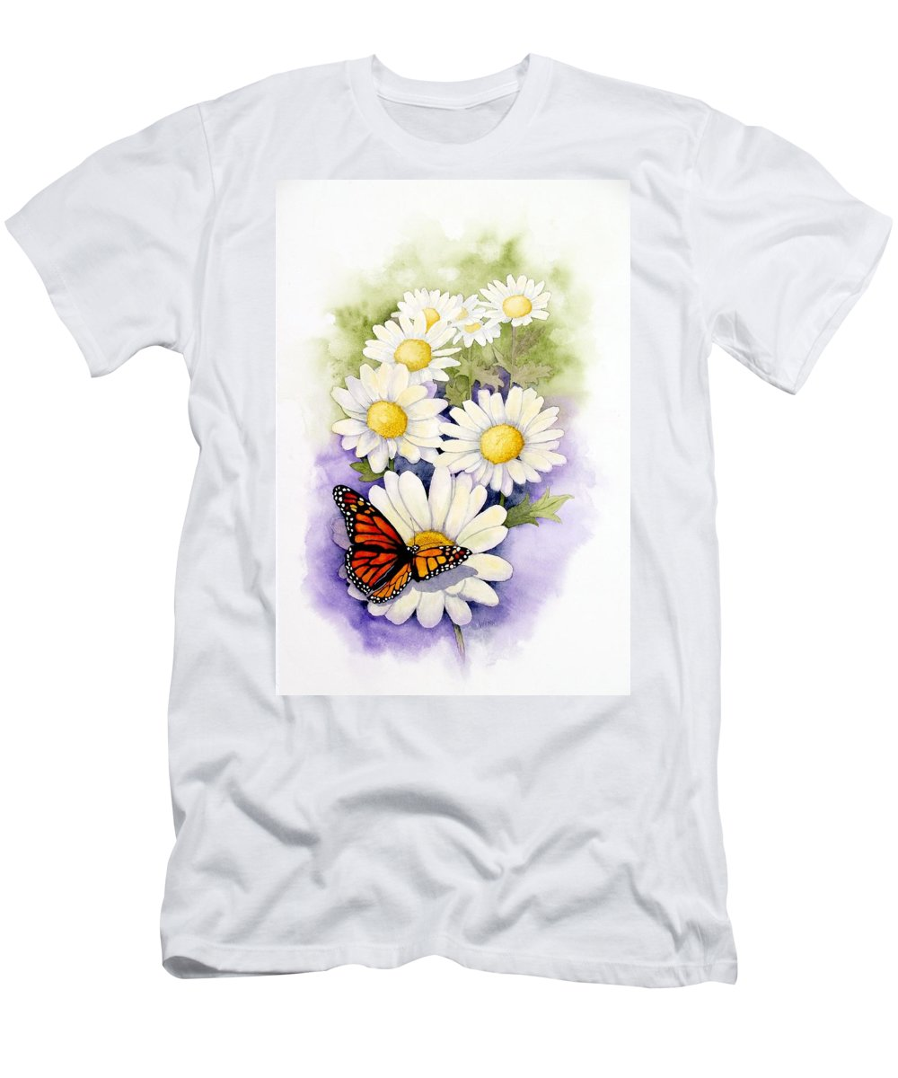 Watercolor Floral Men's T-Shirt (Athletic Fit) featuring the painting Springtime Daisies by Brett Winn