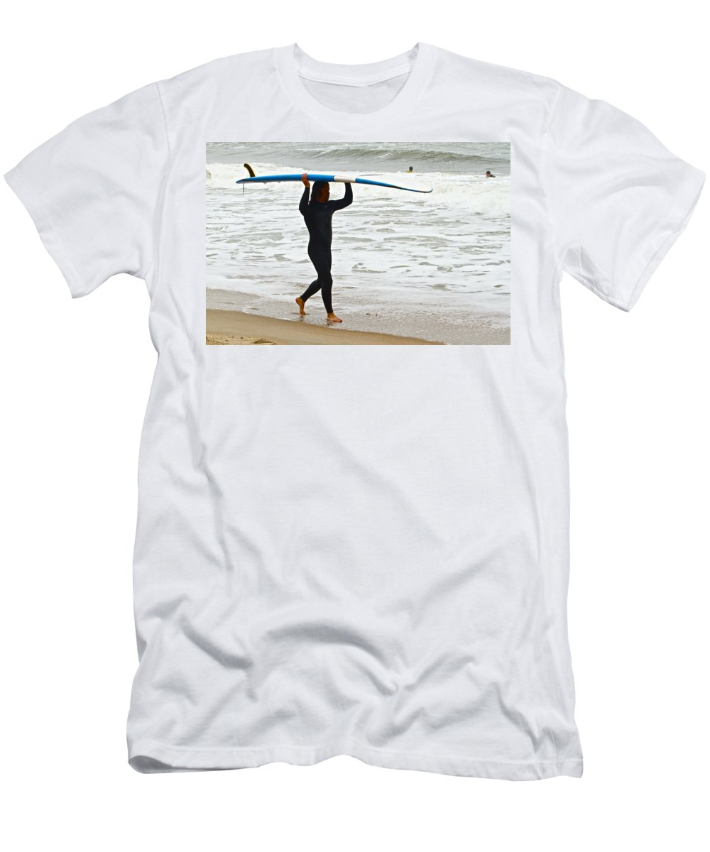 Surfer Ocean Waves St Augustine Men's T-Shirt (Athletic Fit) featuring the photograph St Augustine Surfer Four by Alice Gipson